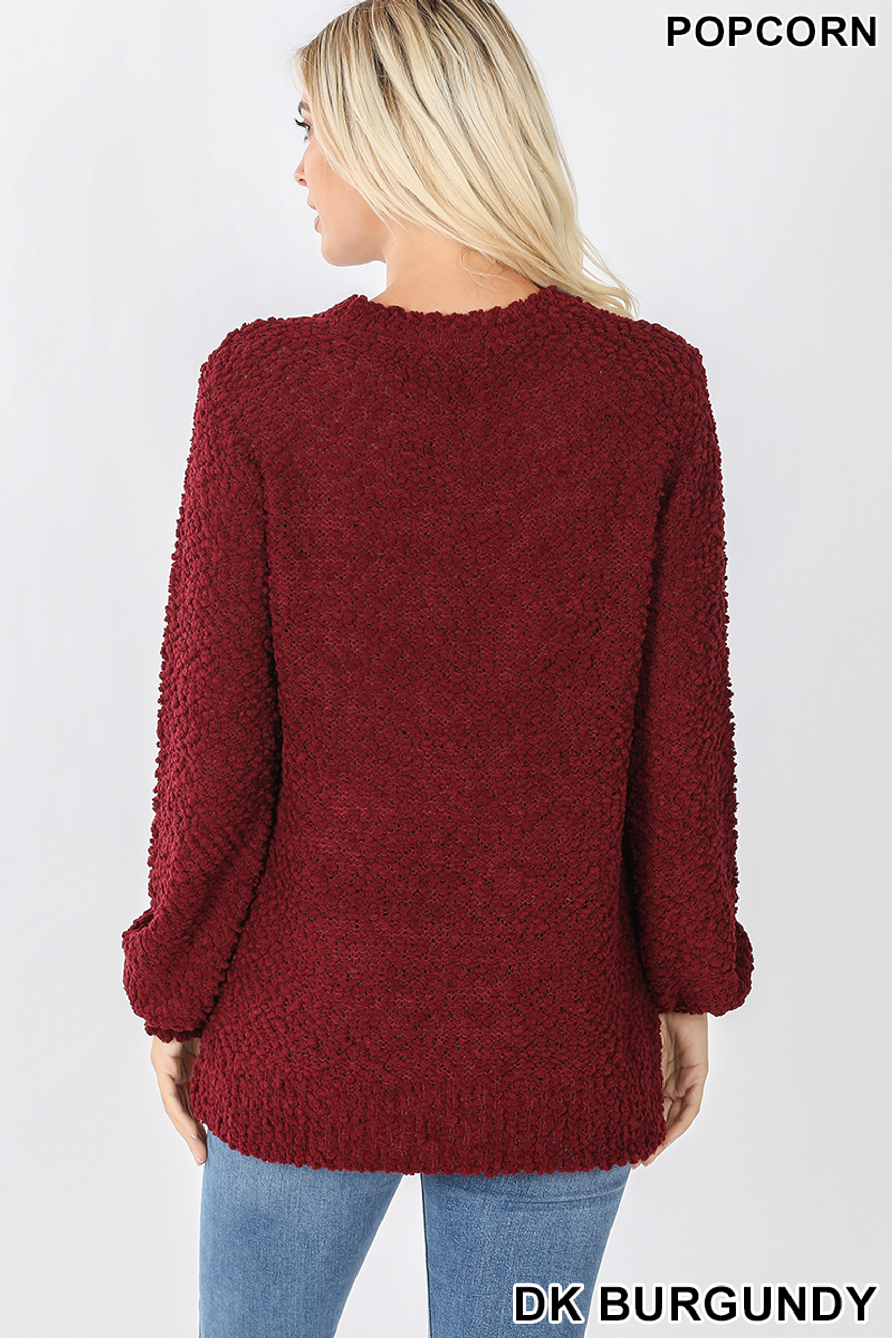 Back image of Dark Burgundy Popcorn Balloon Sleeve Round Neck Pullover Sweater