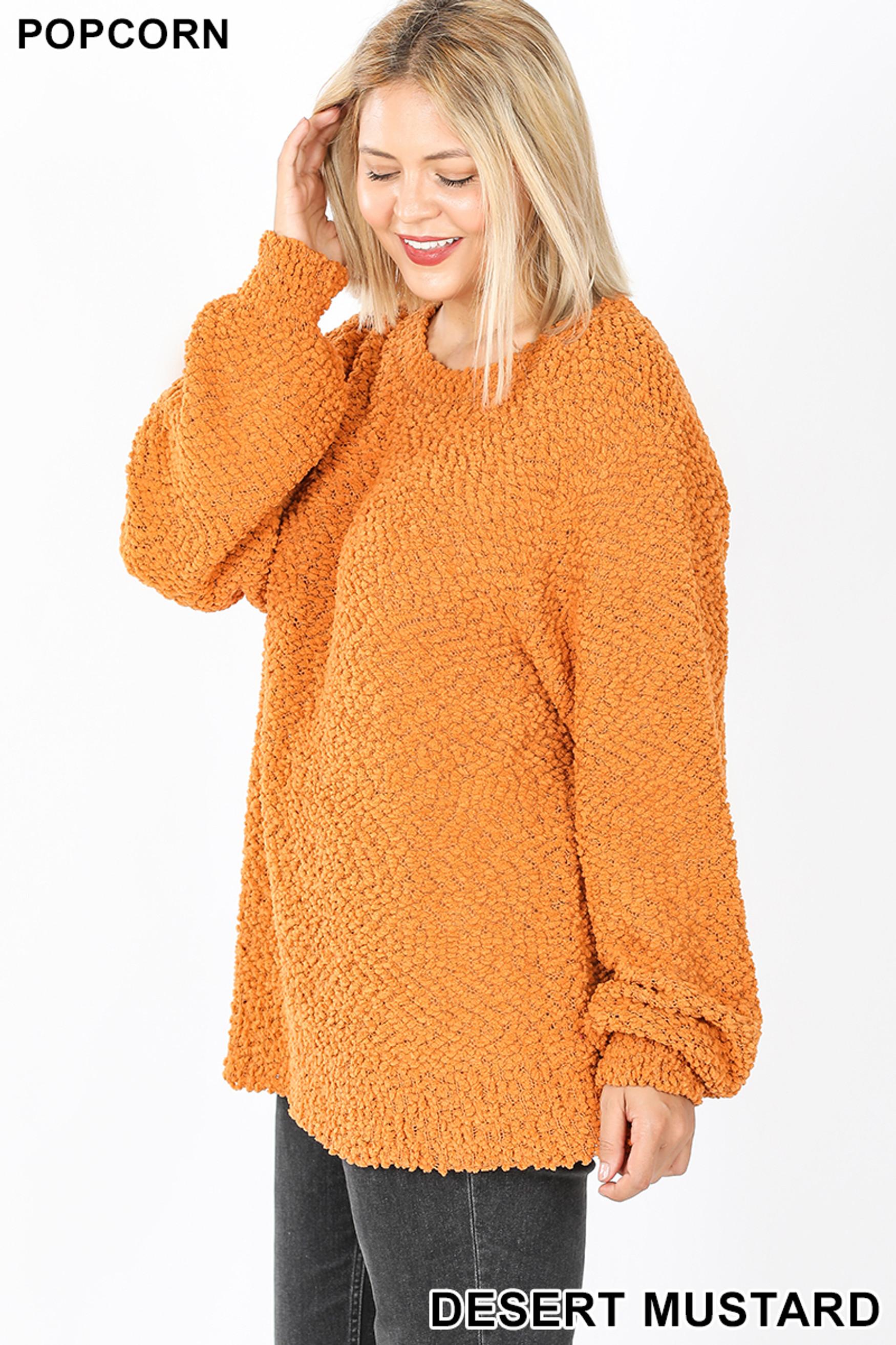 Left side image of Desert Mustard Popcorn Balloon Sleeve Round Neck Plus Size Pullover Sweater