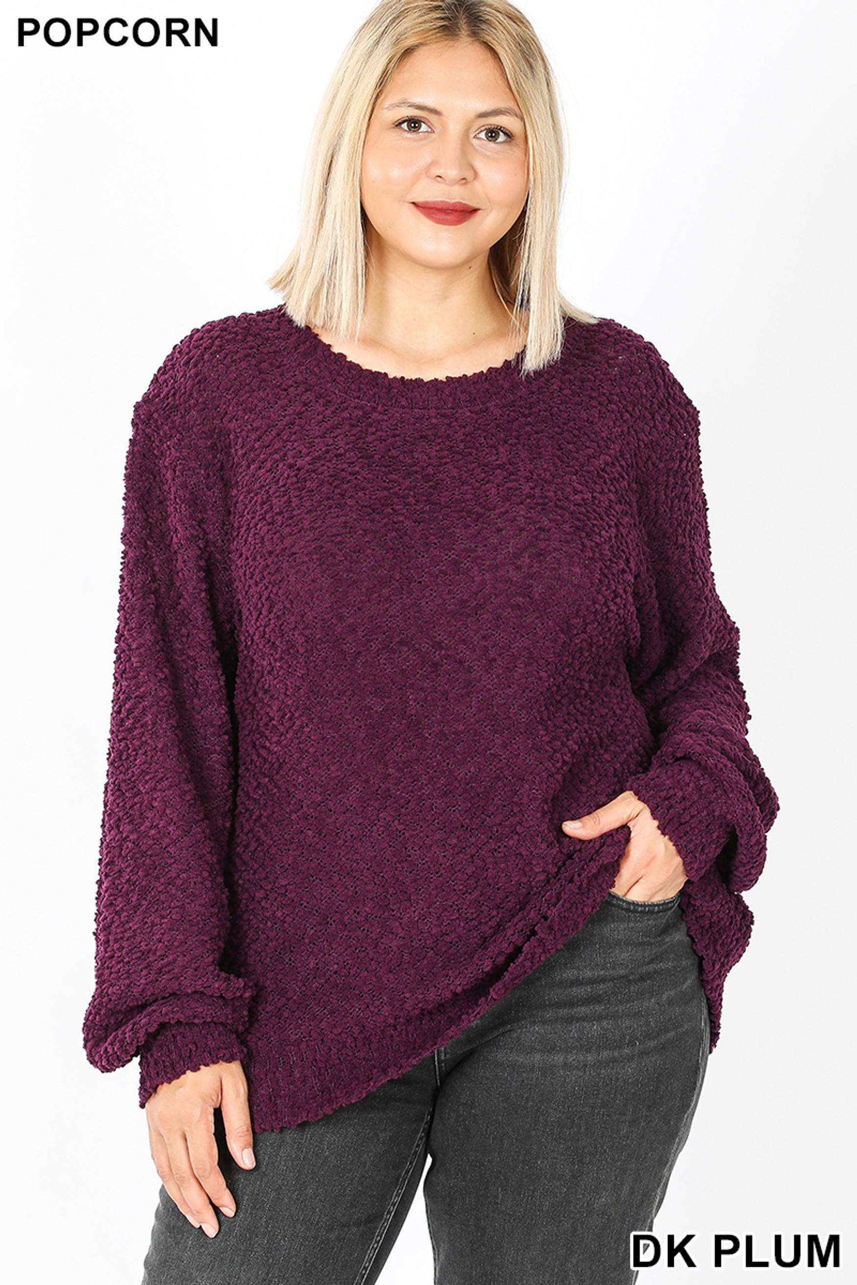 Front image of Dark Plum Popcorn Balloon Sleeve Round Neck Plus Size Pullover Sweater