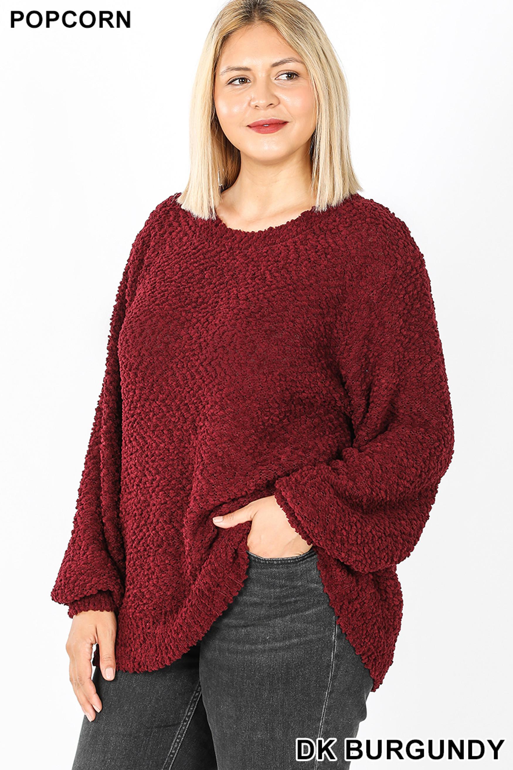 45 degree  image of Dark Burgundy Popcorn Balloon Sleeve Round Neck Plus Size Pullover Sweater