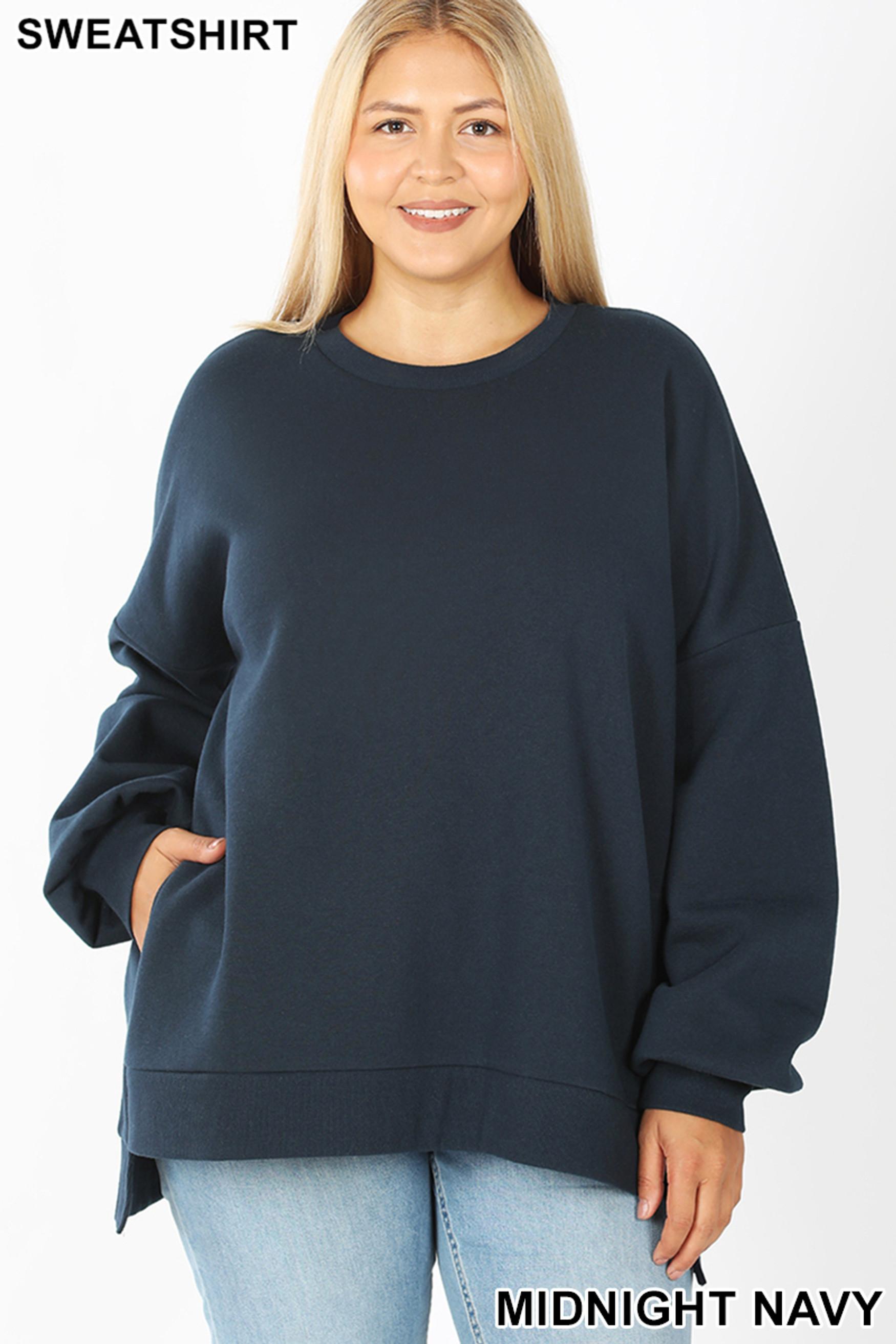 Front view of Midnight Navy Round Neck Hi-Low Hem Plus Size Sweatshirt