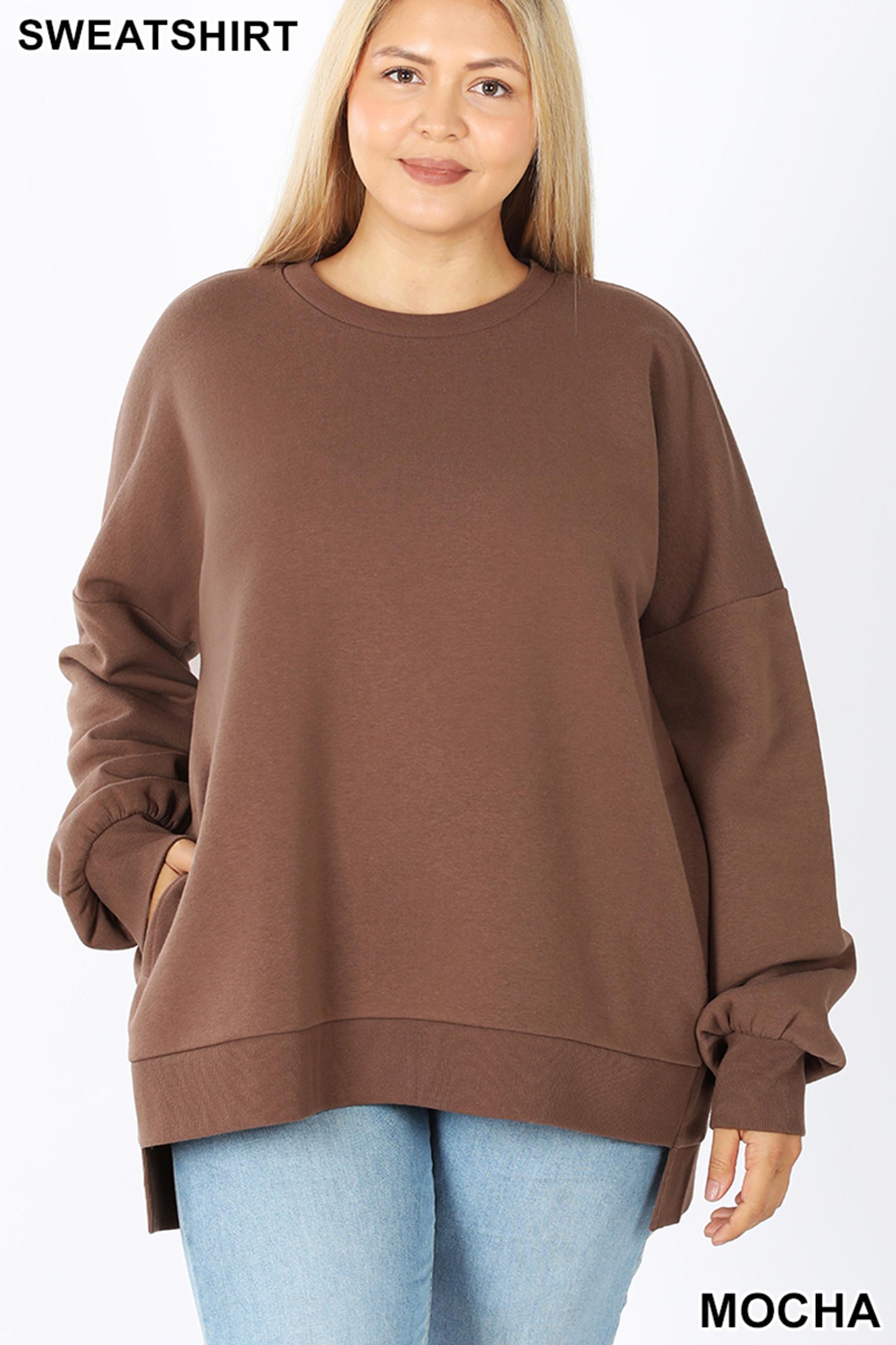 Front view of Mocha Round Neck Hi-Low Hem Plus Size Sweatshirt