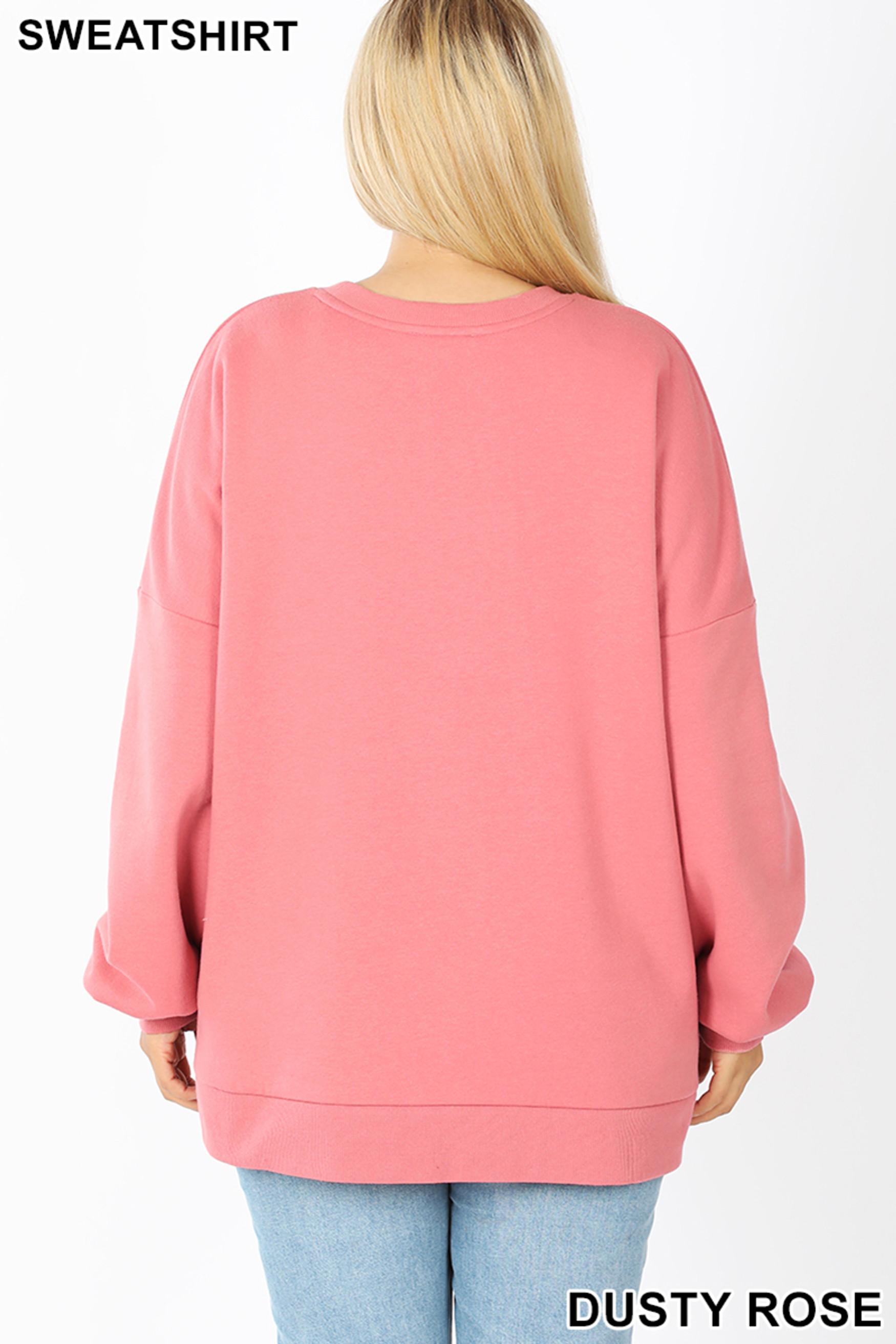 Back view of Dusty Rose Round Neck Hi-Low Hem Plus Size Sweatshirt