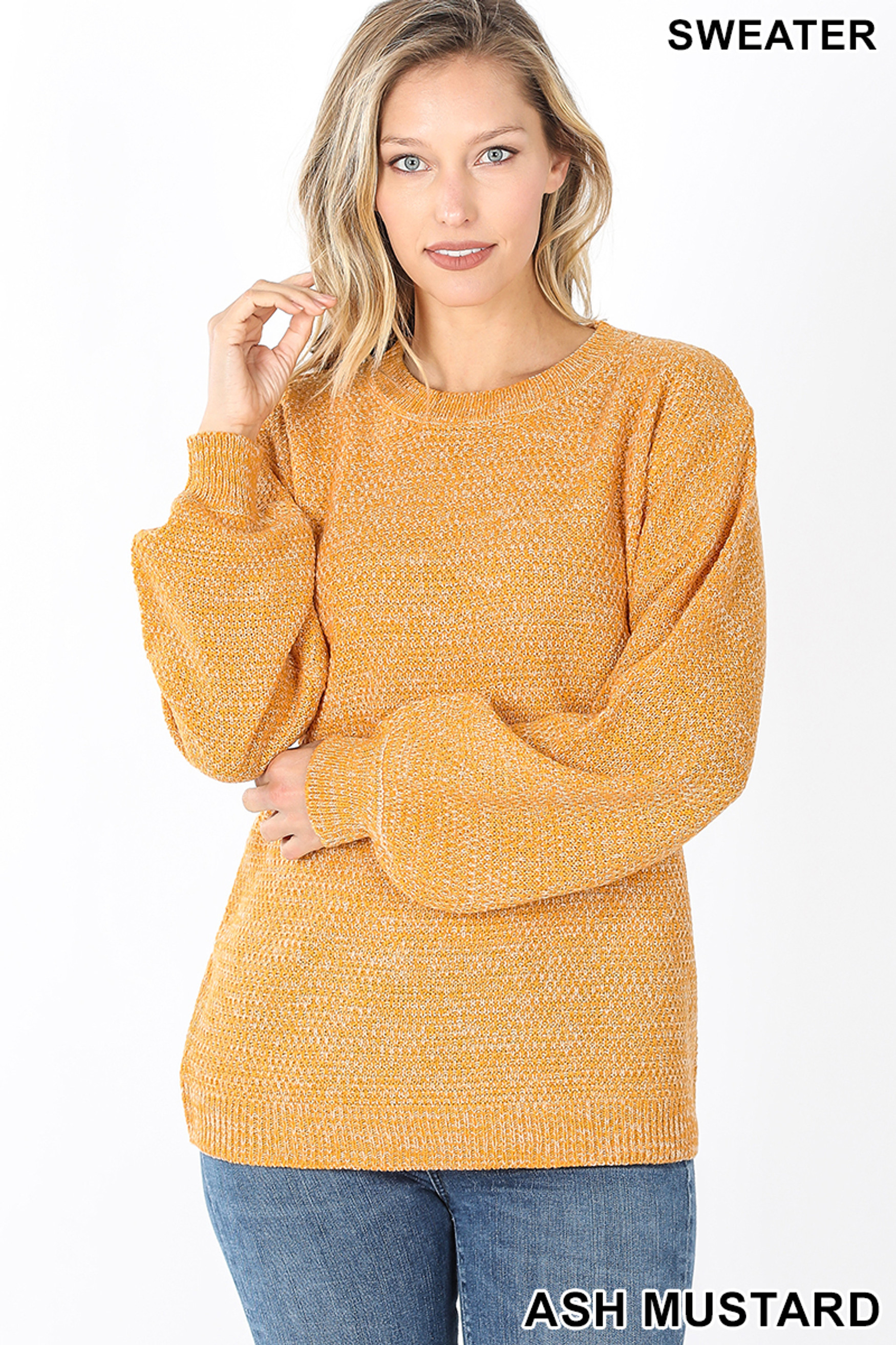 Front image of Ash Mustard Balloon Sleeve Melange Sweater