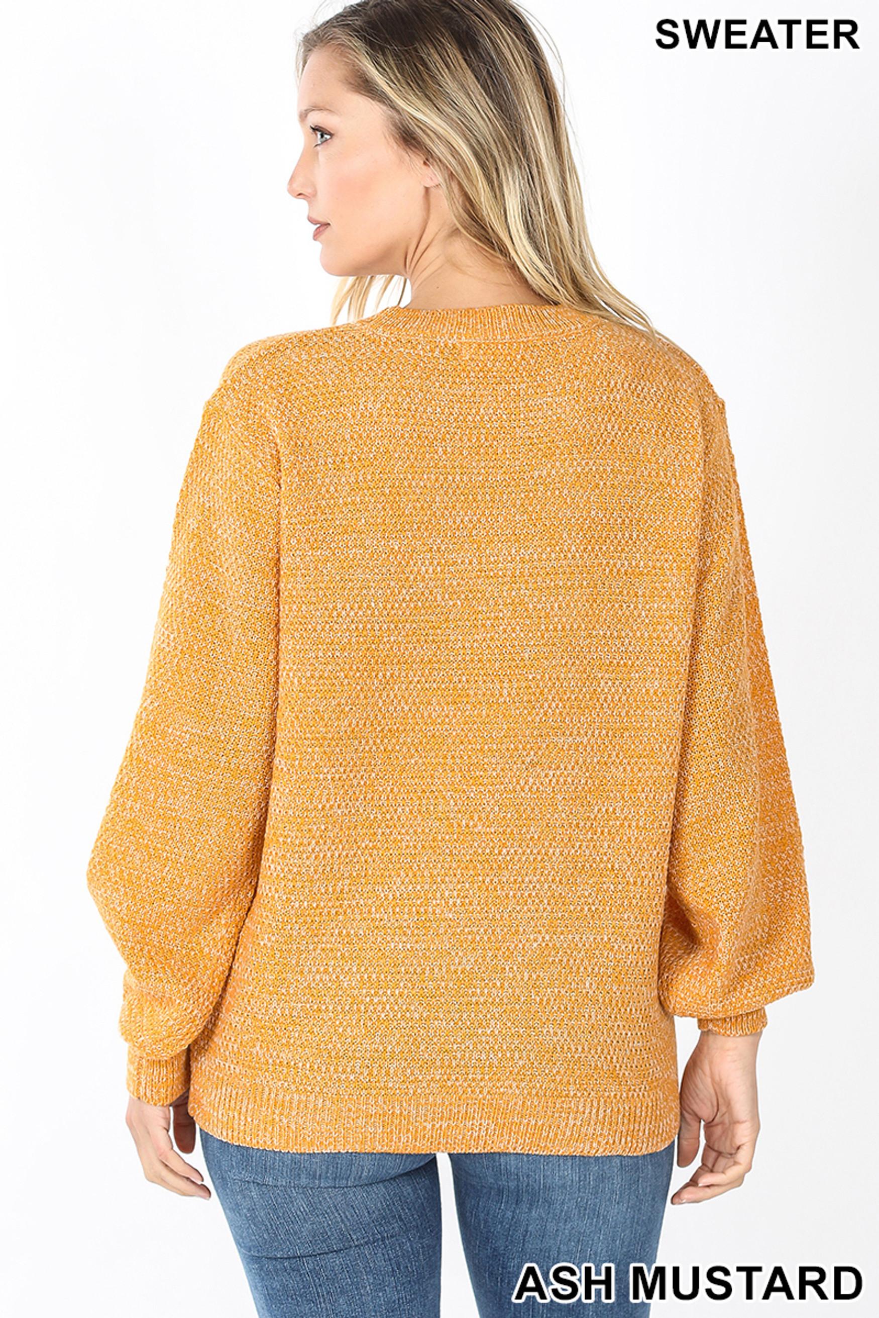 Back image of Ash Mustard Balloon Sleeve Melange Sweater