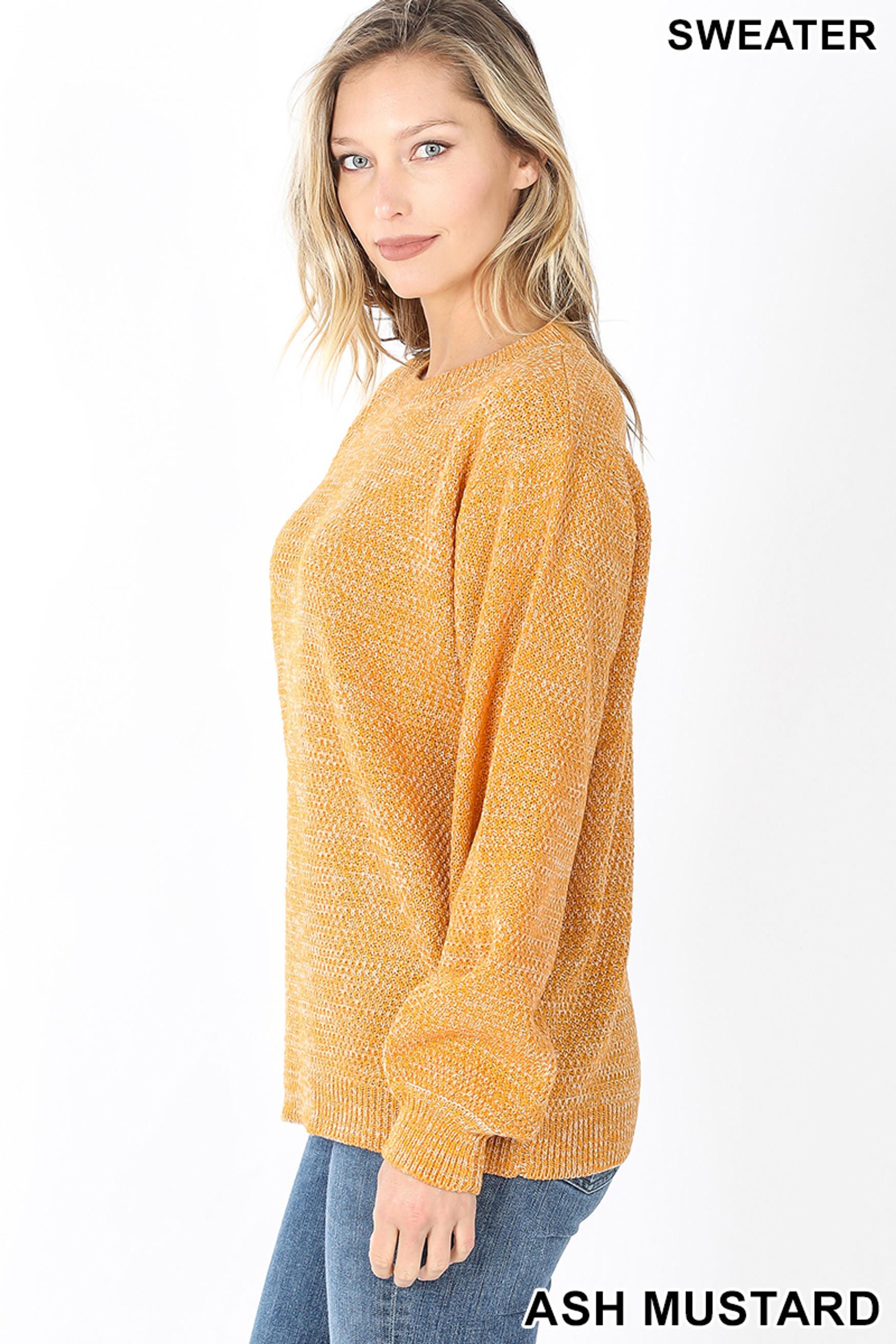 Left side image of Ash Mustard Balloon Sleeve Melange Sweater