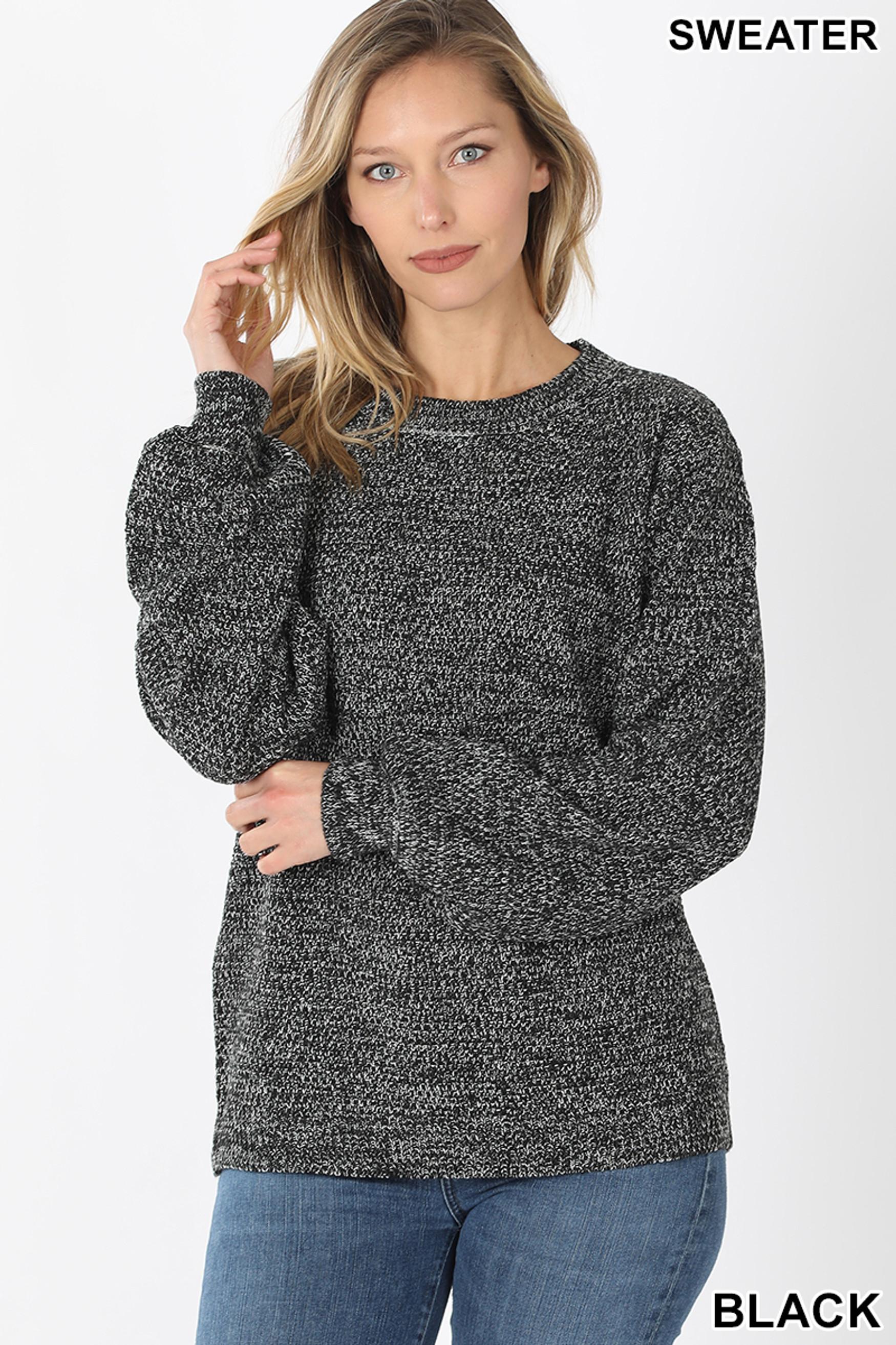 Front image of Black Balloon Sleeve Melange Sweater