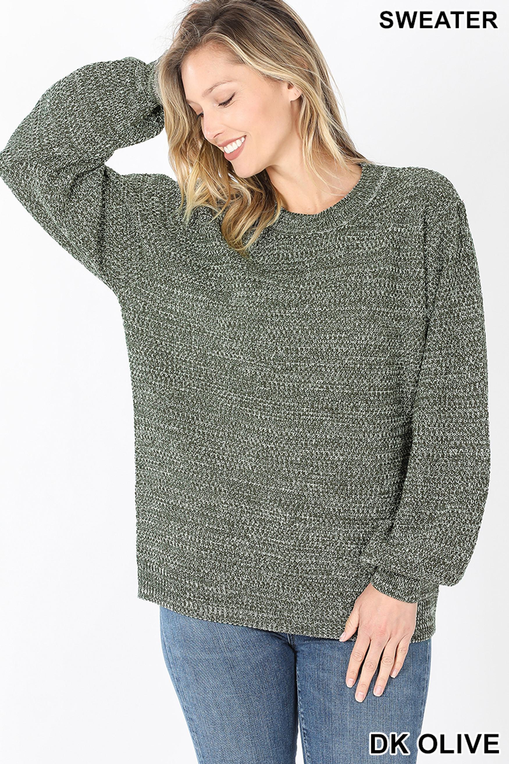 Front image of Dk Olive Balloon Sleeve Melange Sweater