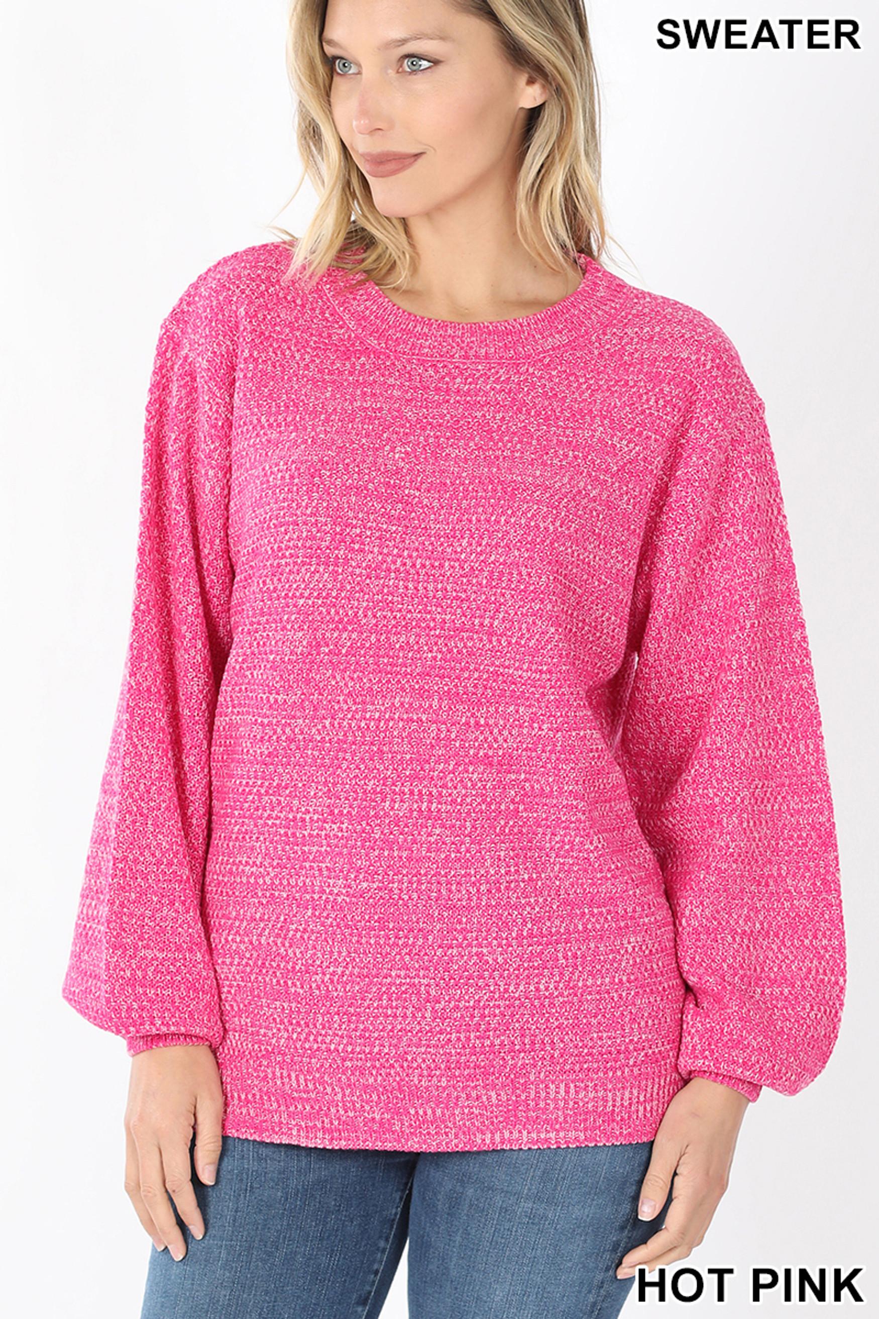 Front image of Hot Pink Balloon Sleeve Melange Sweater