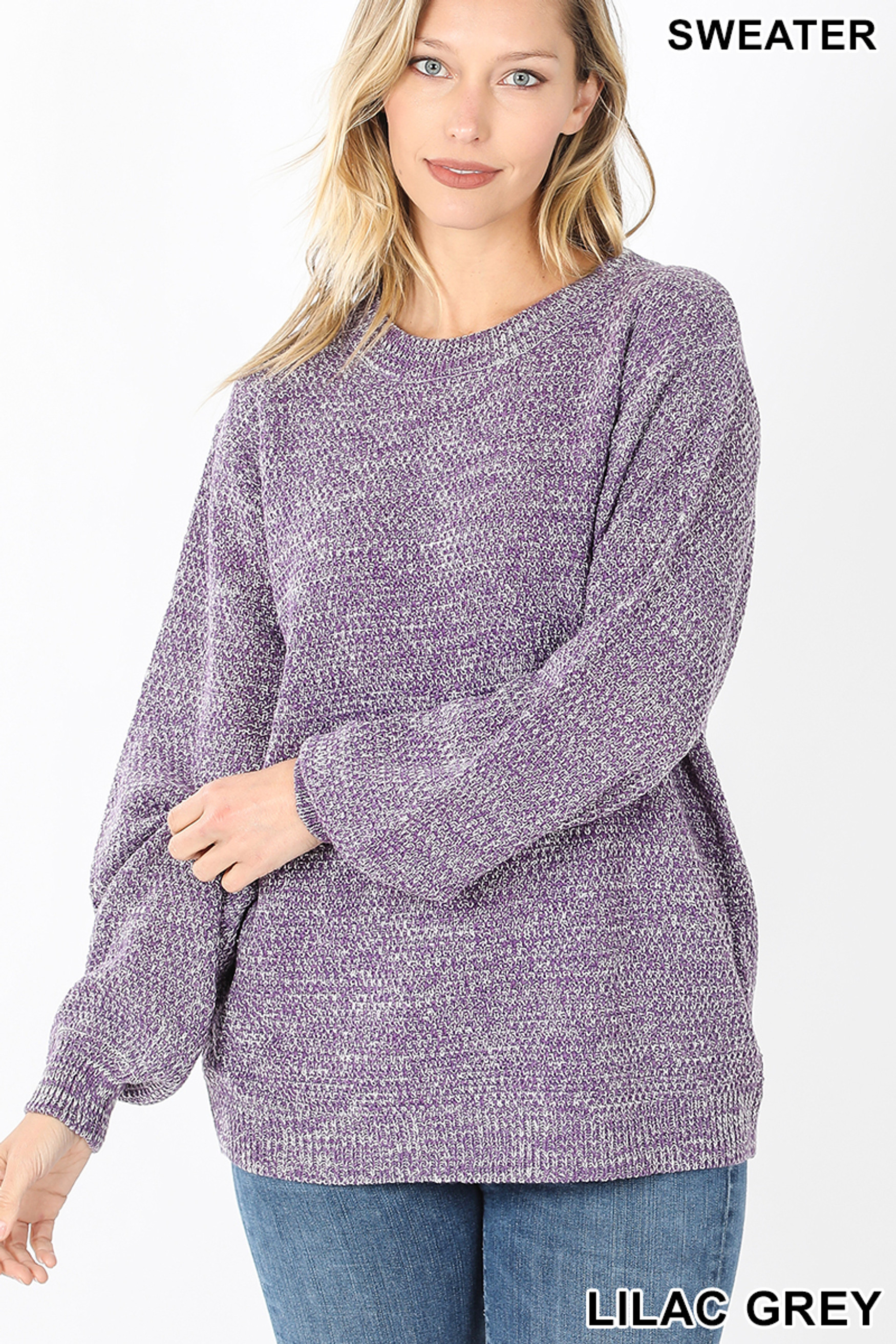 Front image of Lilac Grey Balloon Sleeve Melange Sweater