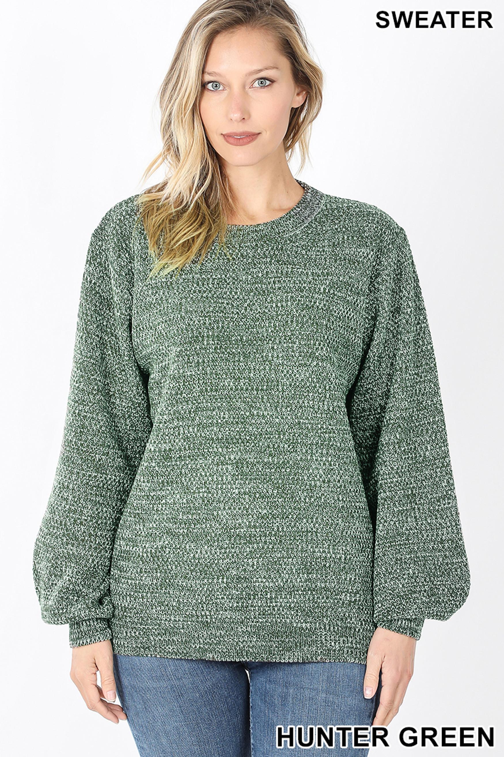 Front image of Hunter Green Balloon Sleeve Melange Sweater