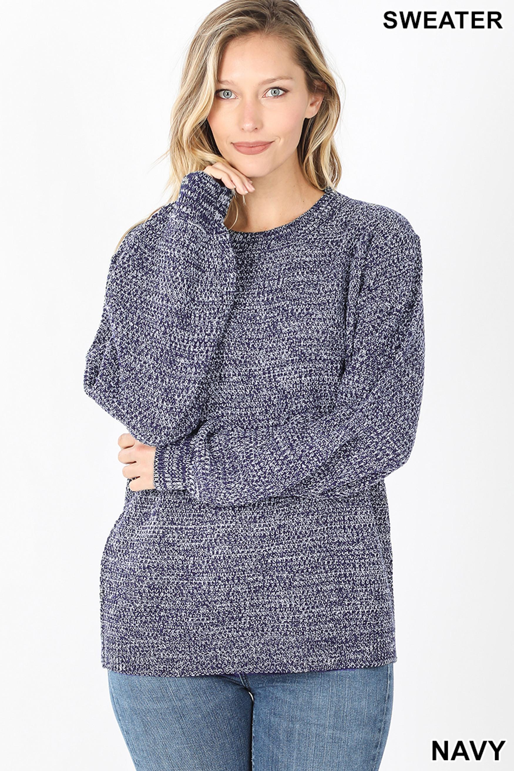 Front image of Navy Balloon Sleeve Melange Sweater