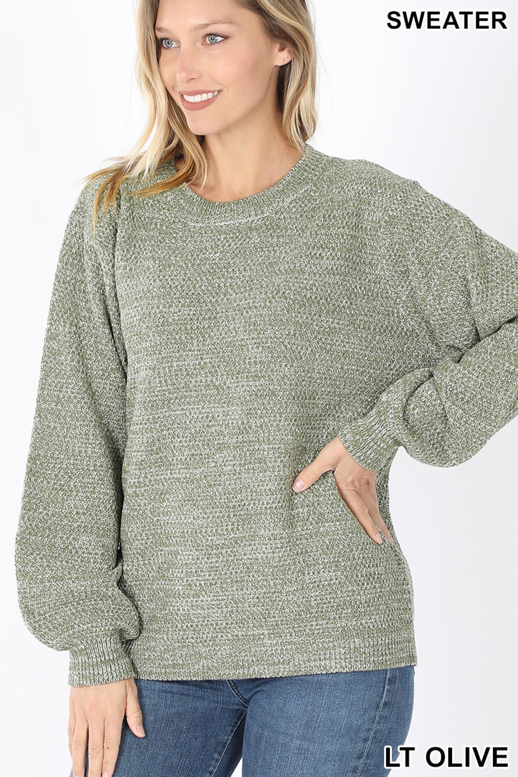 Front image of Lt Olive Balloon Sleeve Melange Sweater