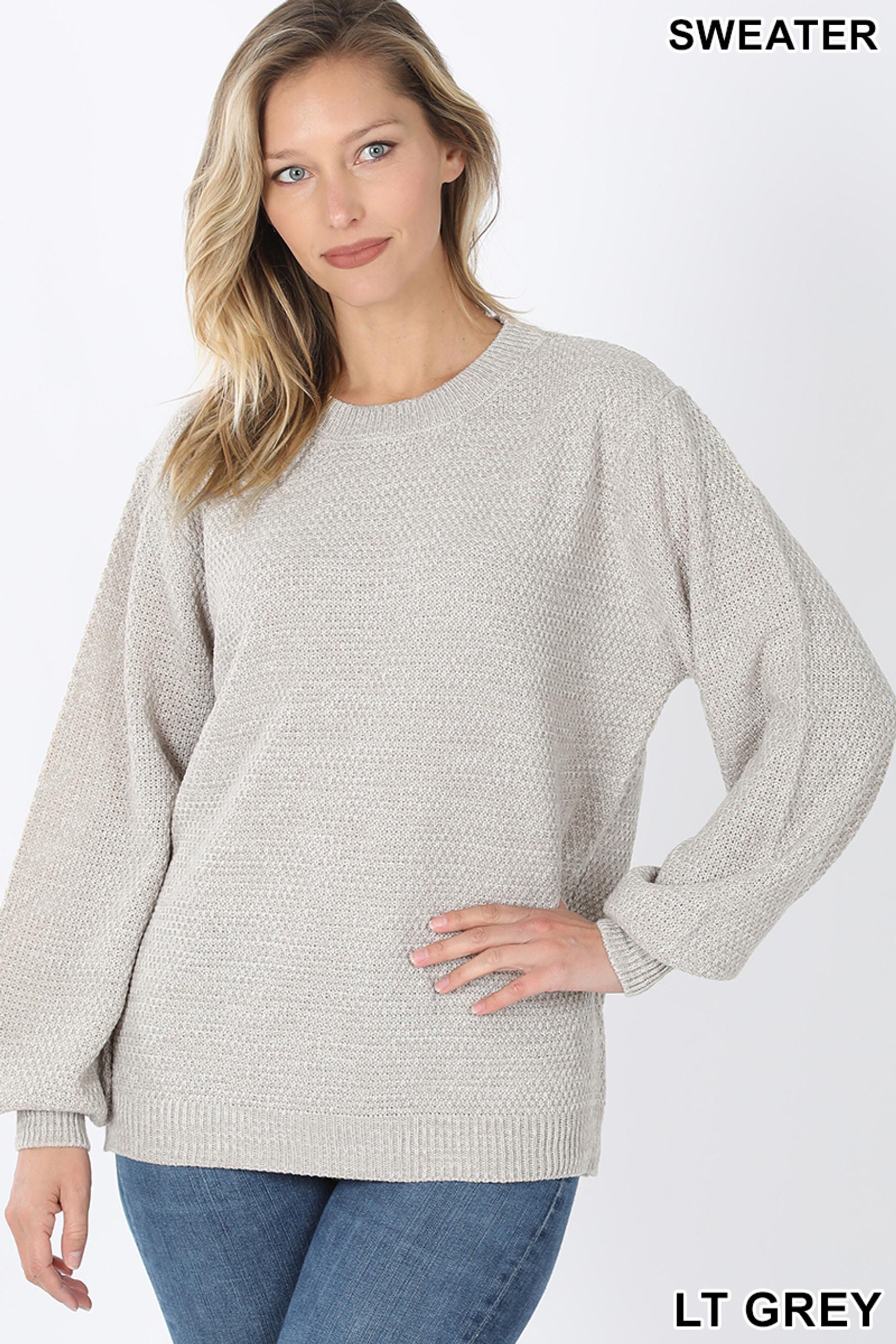Front image of Lt Grey Balloon Sleeve Melange Sweater