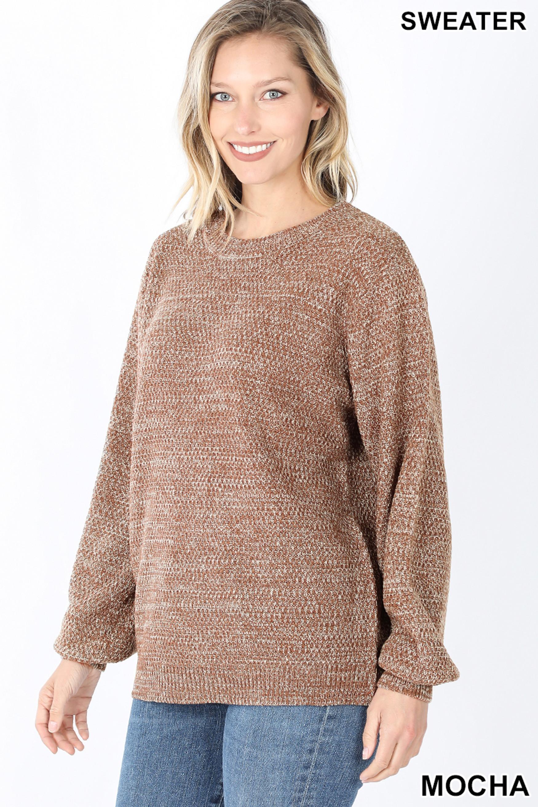 Front image of Mocha Balloon Sleeve Melange Sweater