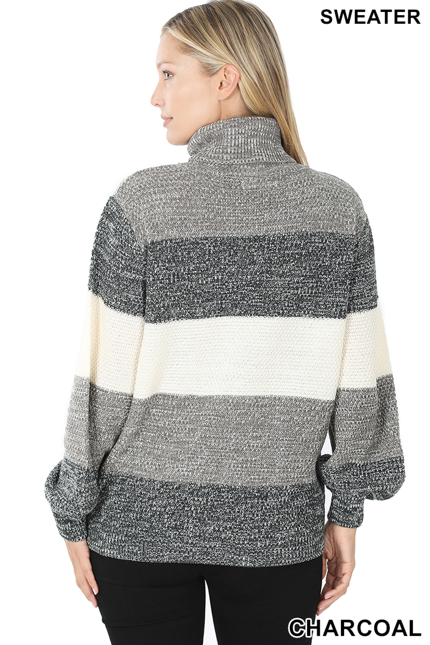Back view of Charcoal Color Block Striped Turtle Neck Balloon Sleeve Sweater