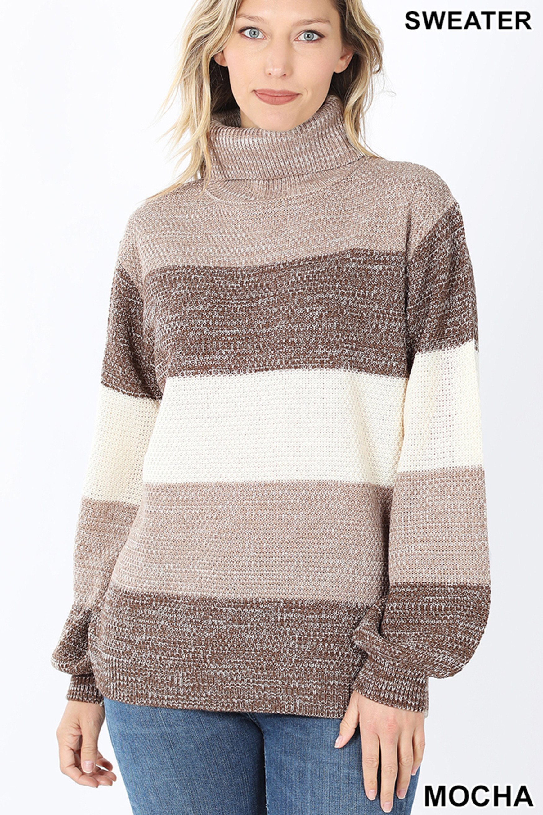 Front image of Mocha Color Block Striped Turtle Neck Balloon Sleeve Sweater