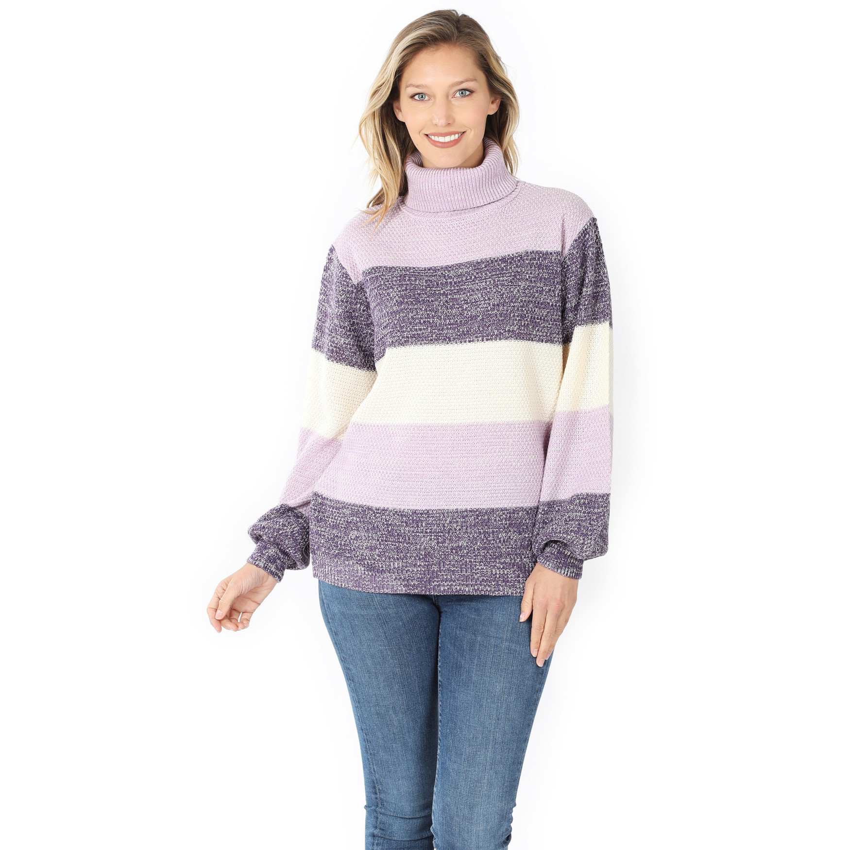 Front of Lilac Color Block Striped Turtle Neck Balloon Sleeve Sweater