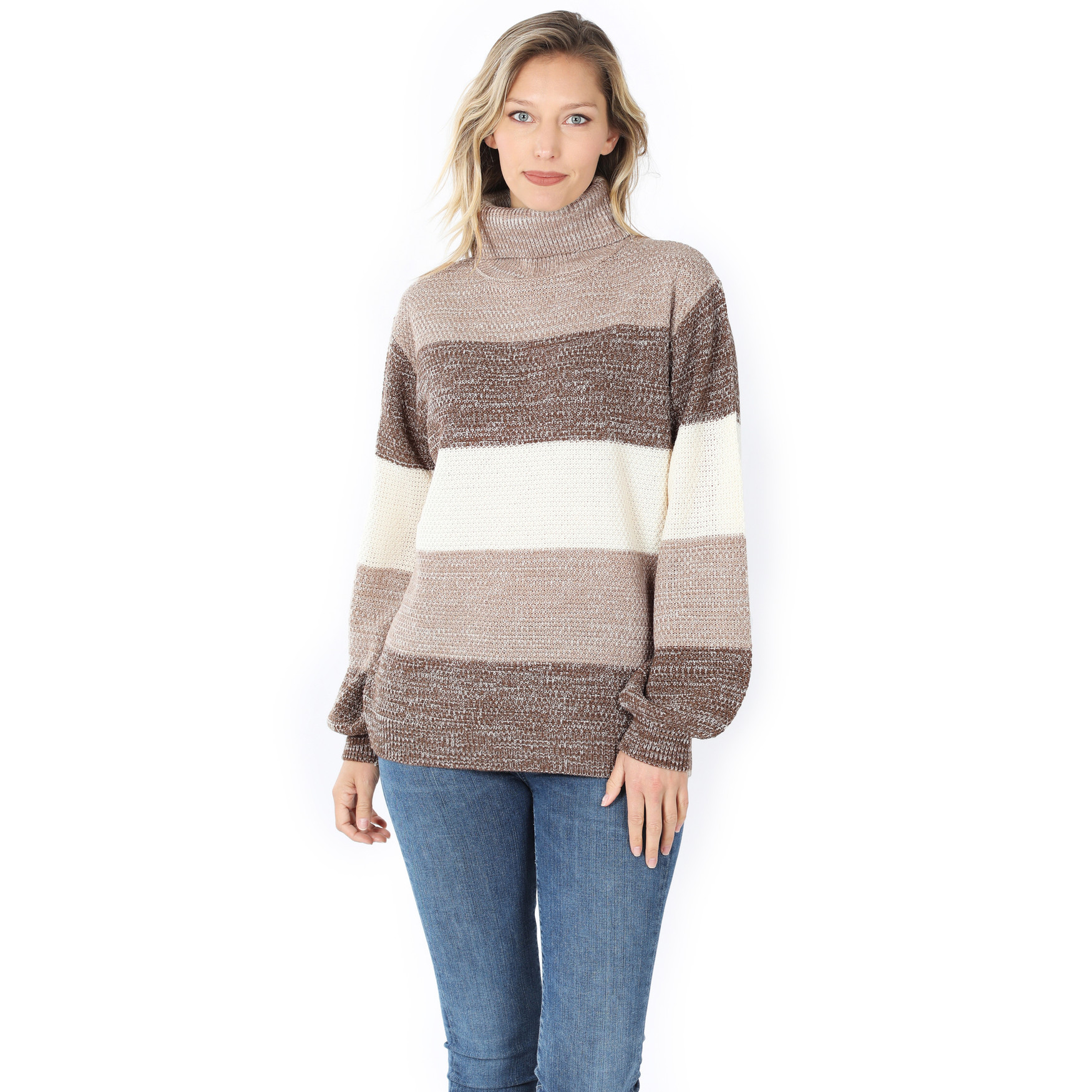 Front of Mocha Color Block Striped Turtle Neck Balloon Sleeve Sweater