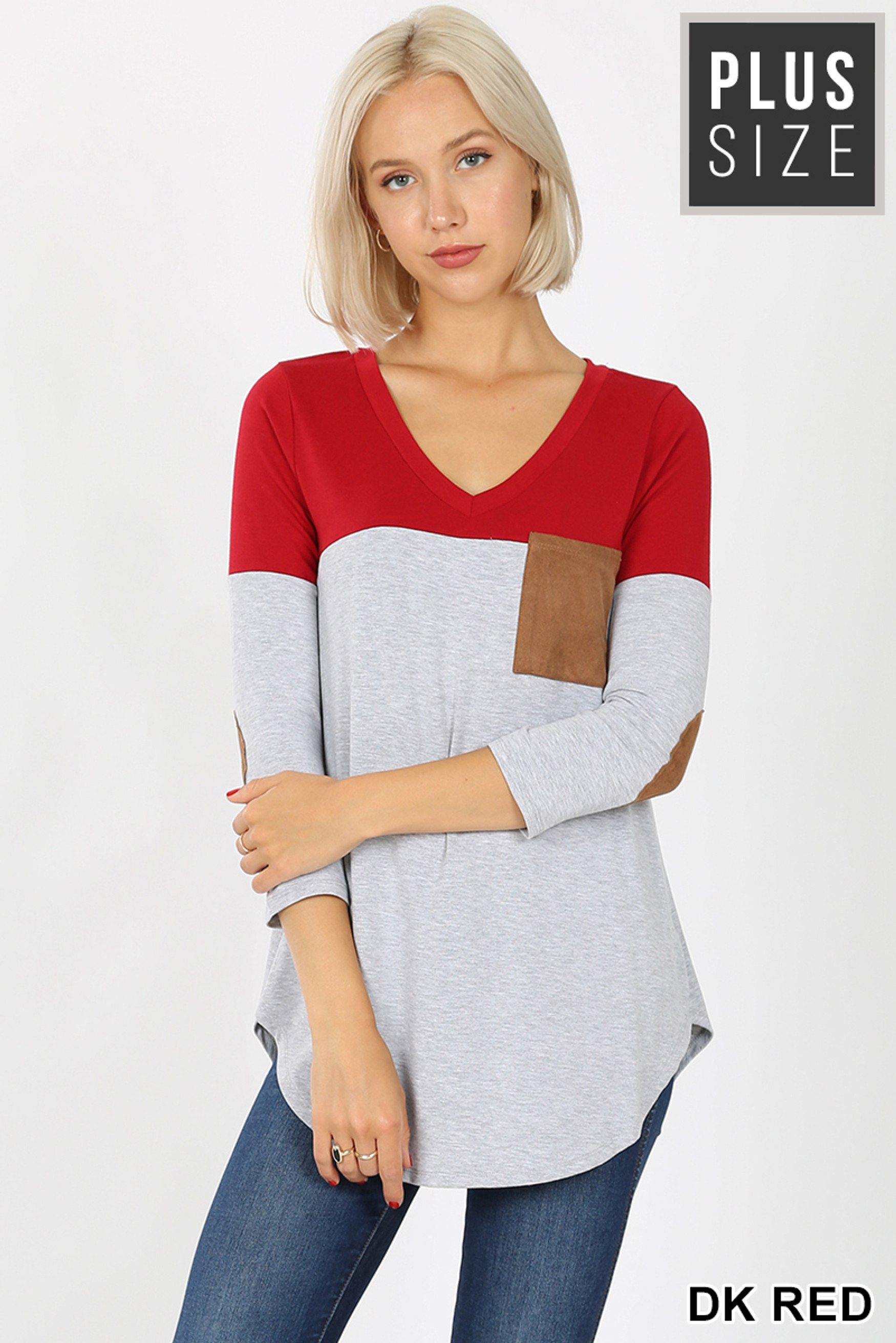 Front of Dk Red Color Block V-Neck 3/4 Sleeve Plus Size Top with Front Pocket