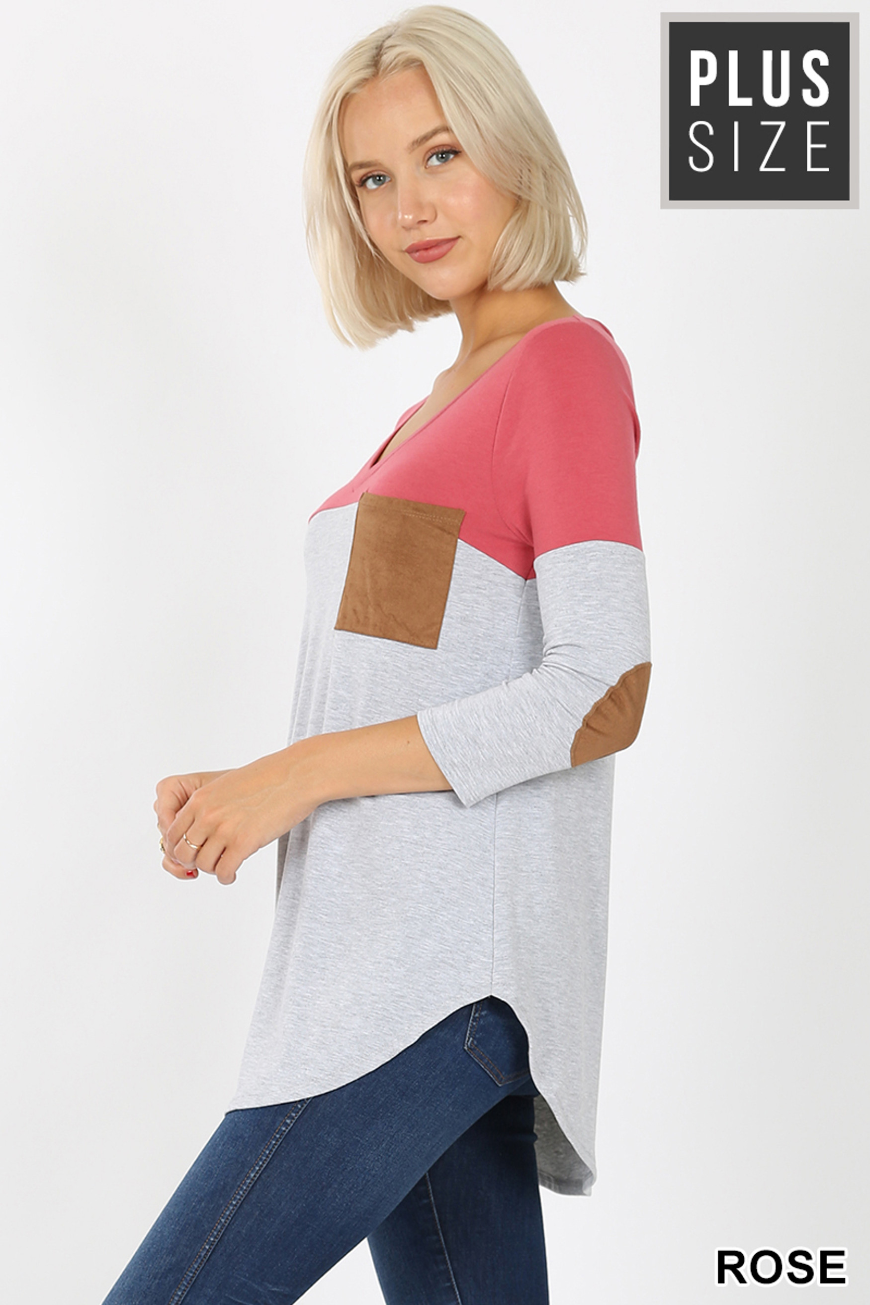 Left side view of Rose Color Block V-Neck 3/4 Sleeve Plus Size Top with Front Pocket
