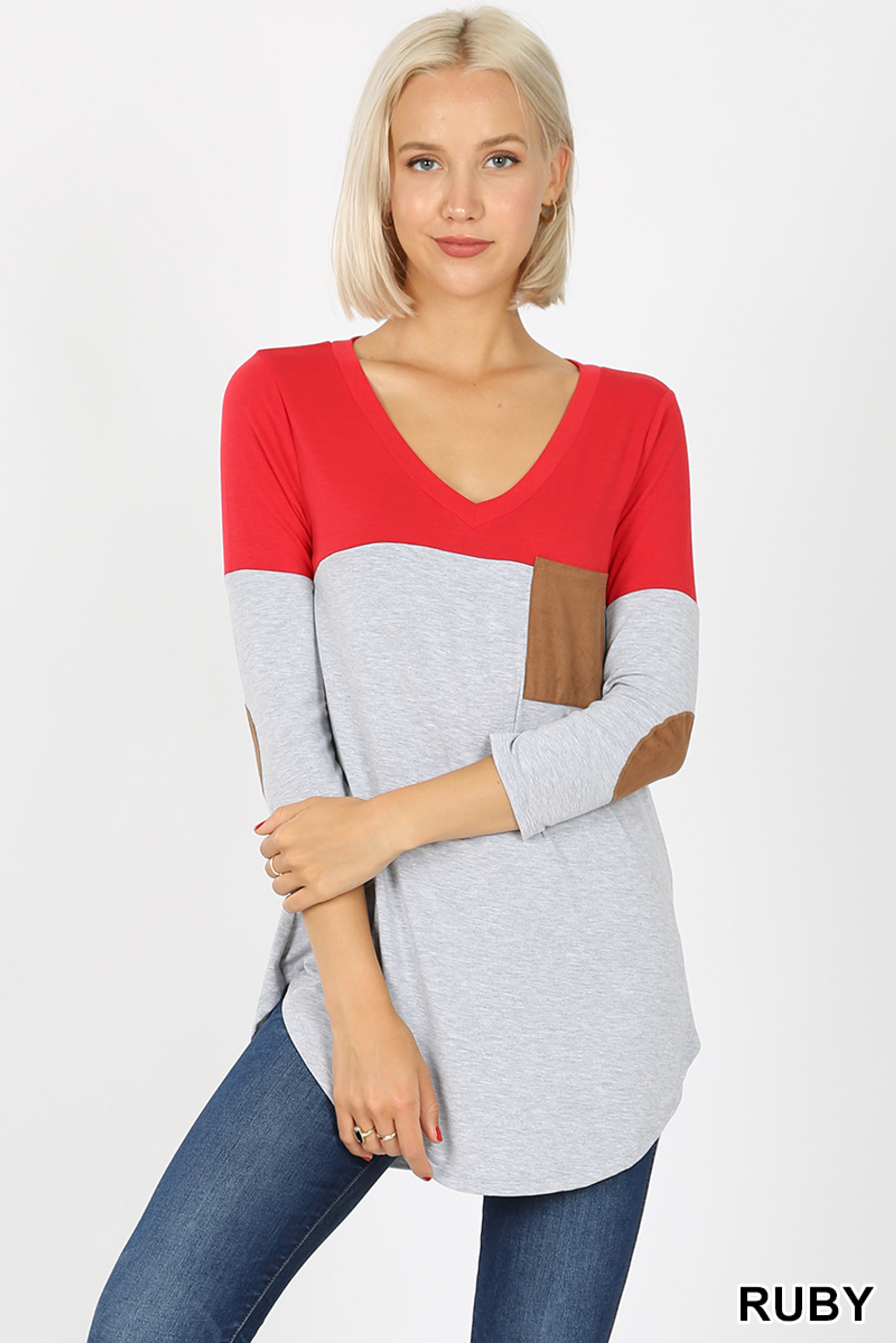 Front view of Ruby Color Block V-Neck 3/4 Sleeve Top with Front Pocket