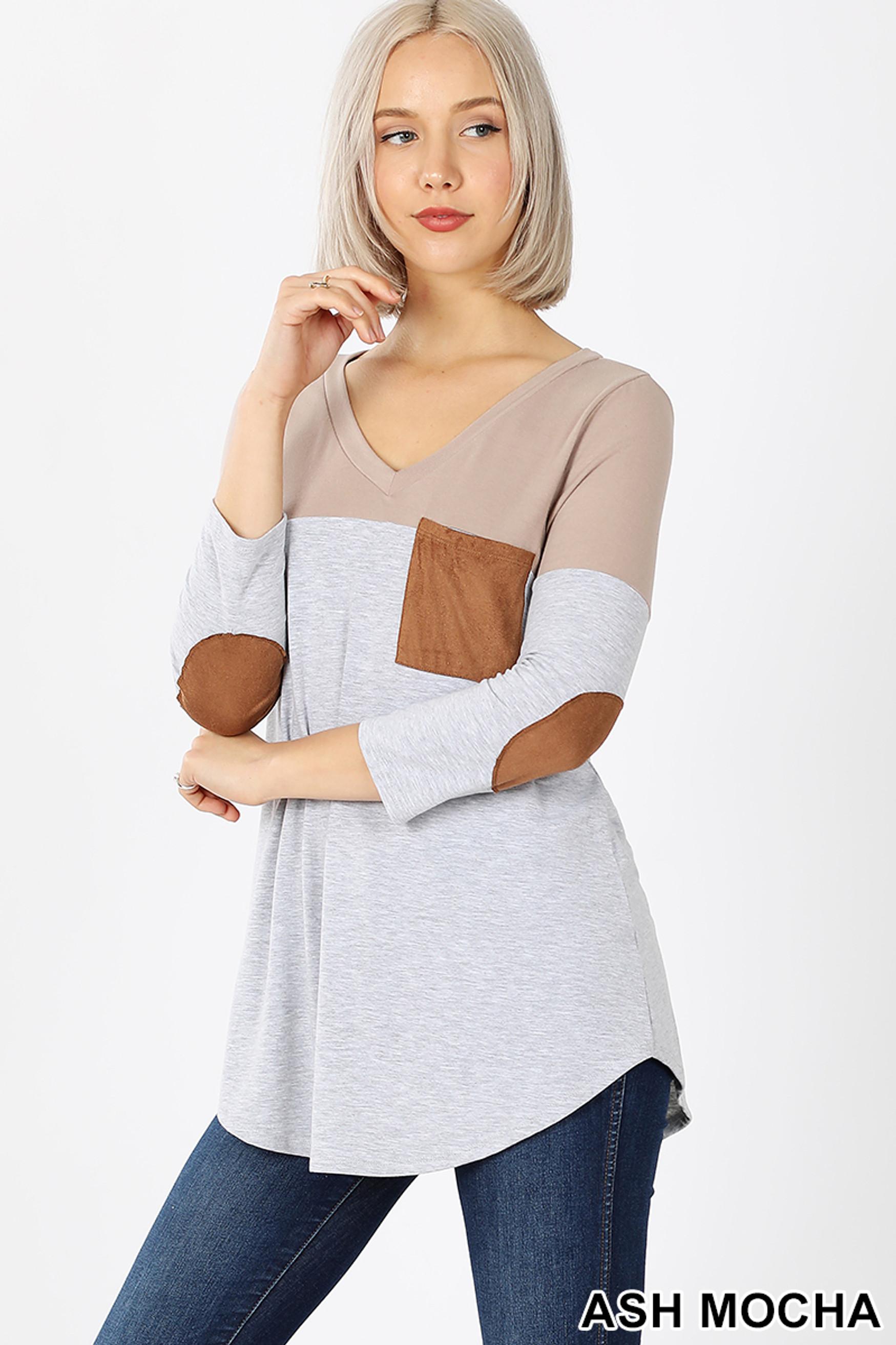 45 degree left view of Ash Mocha Color Block V-Neck 3/4 Sleeve Top with Front Pocket