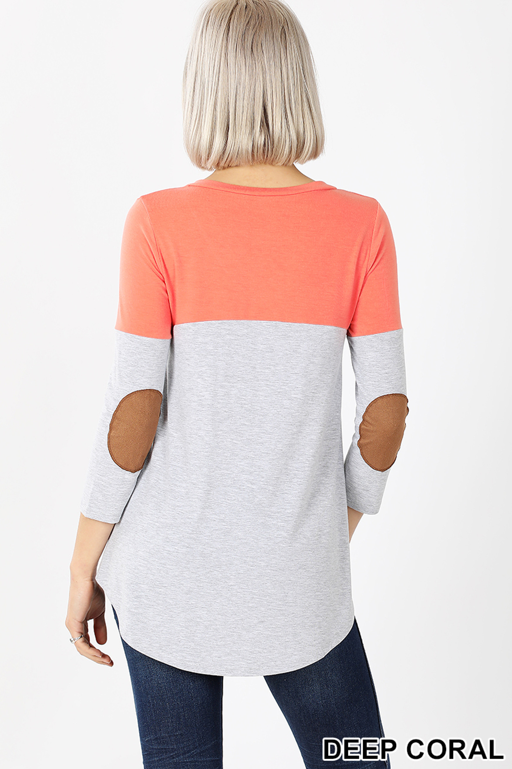 Back view of Deep Coral Color Block V-Neck 3/4 Sleeve Top with Front Pocket