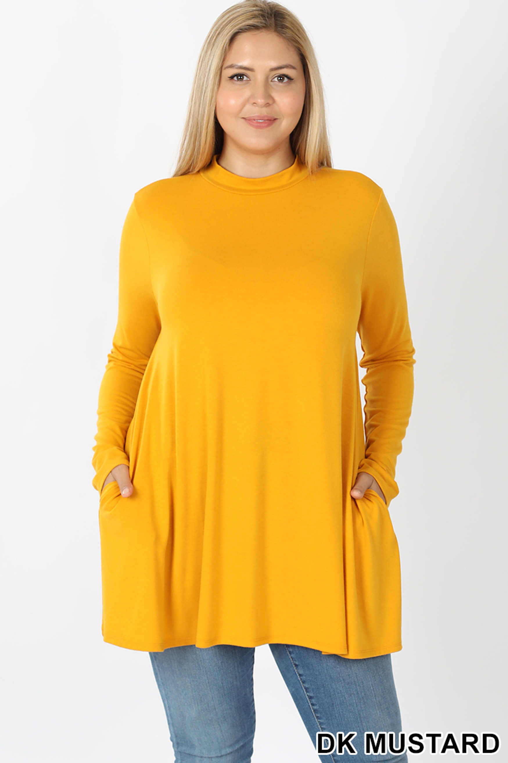 Front image of Dk Mustard Long Sleeve Mock Neck Plus Size Top