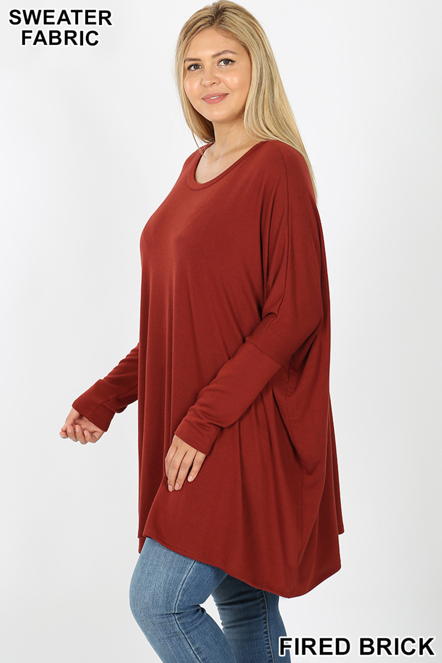 Left side view of Fired Brick Oversized Round Neck Poncho Plus Size Sweater