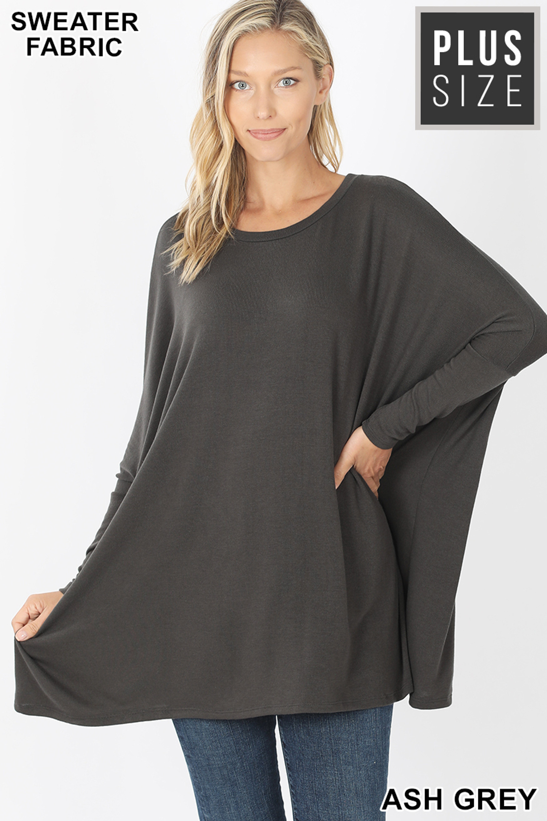 Front view of Ash Grey Oversized Round Neck Poncho Plus Size Sweater