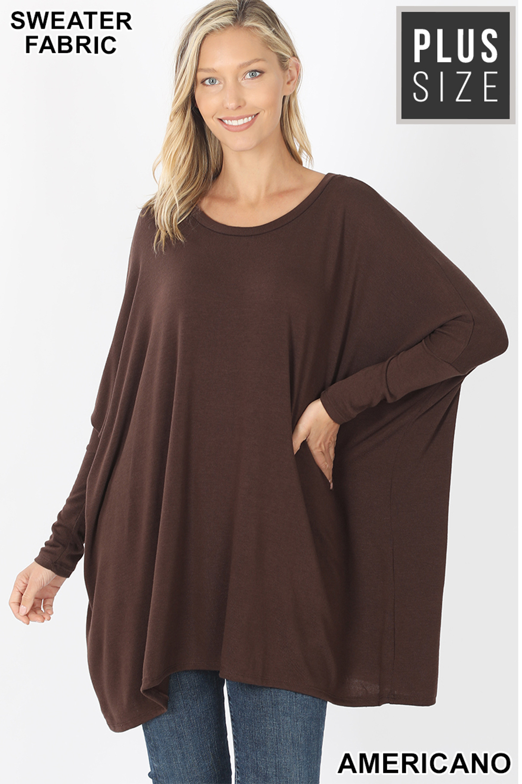 Front view of Americano Oversized Round Neck Poncho Plus Size Sweater