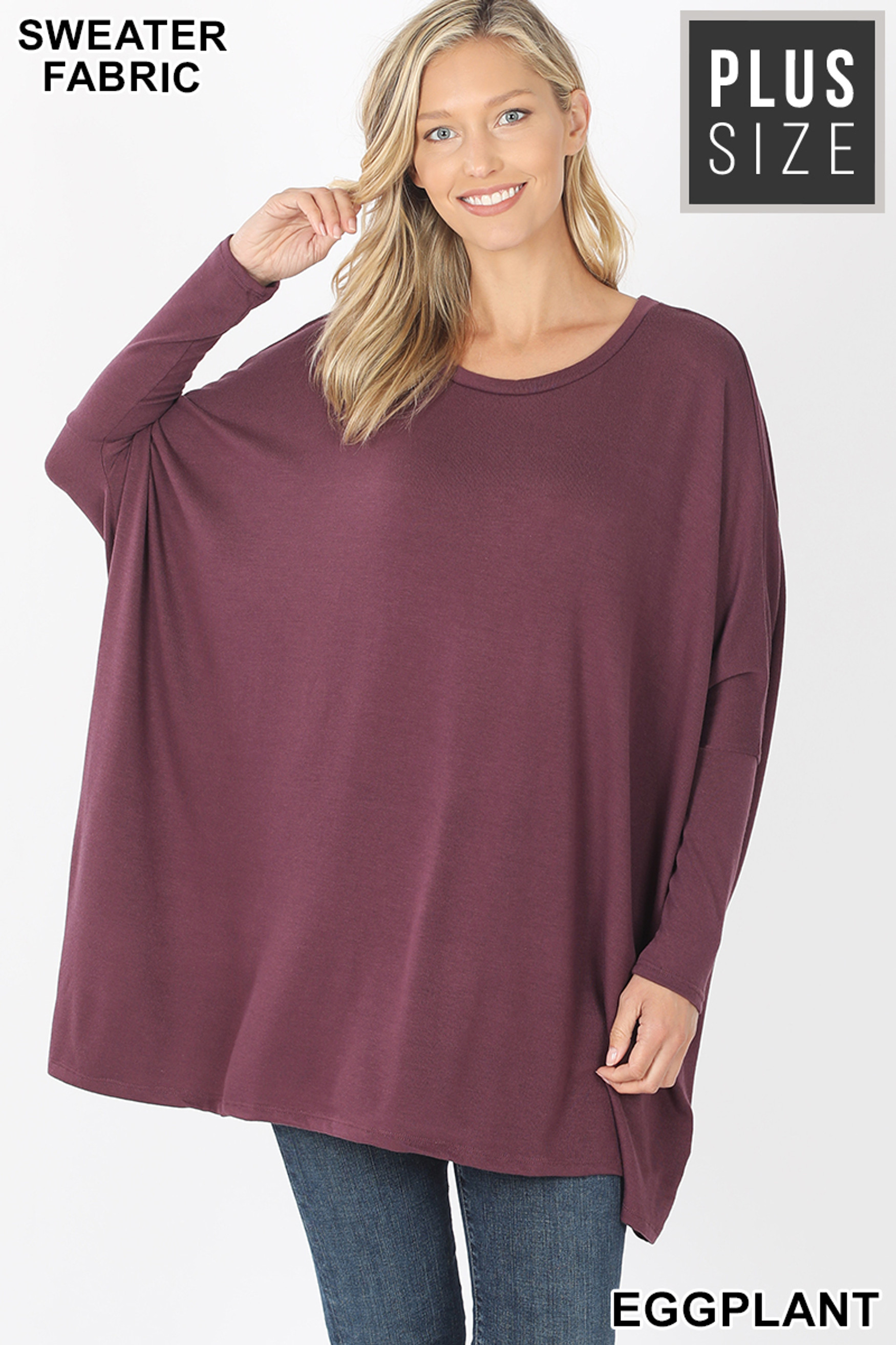 Front view of Eggplant Oversized Round Neck Poncho Plus Size Sweater