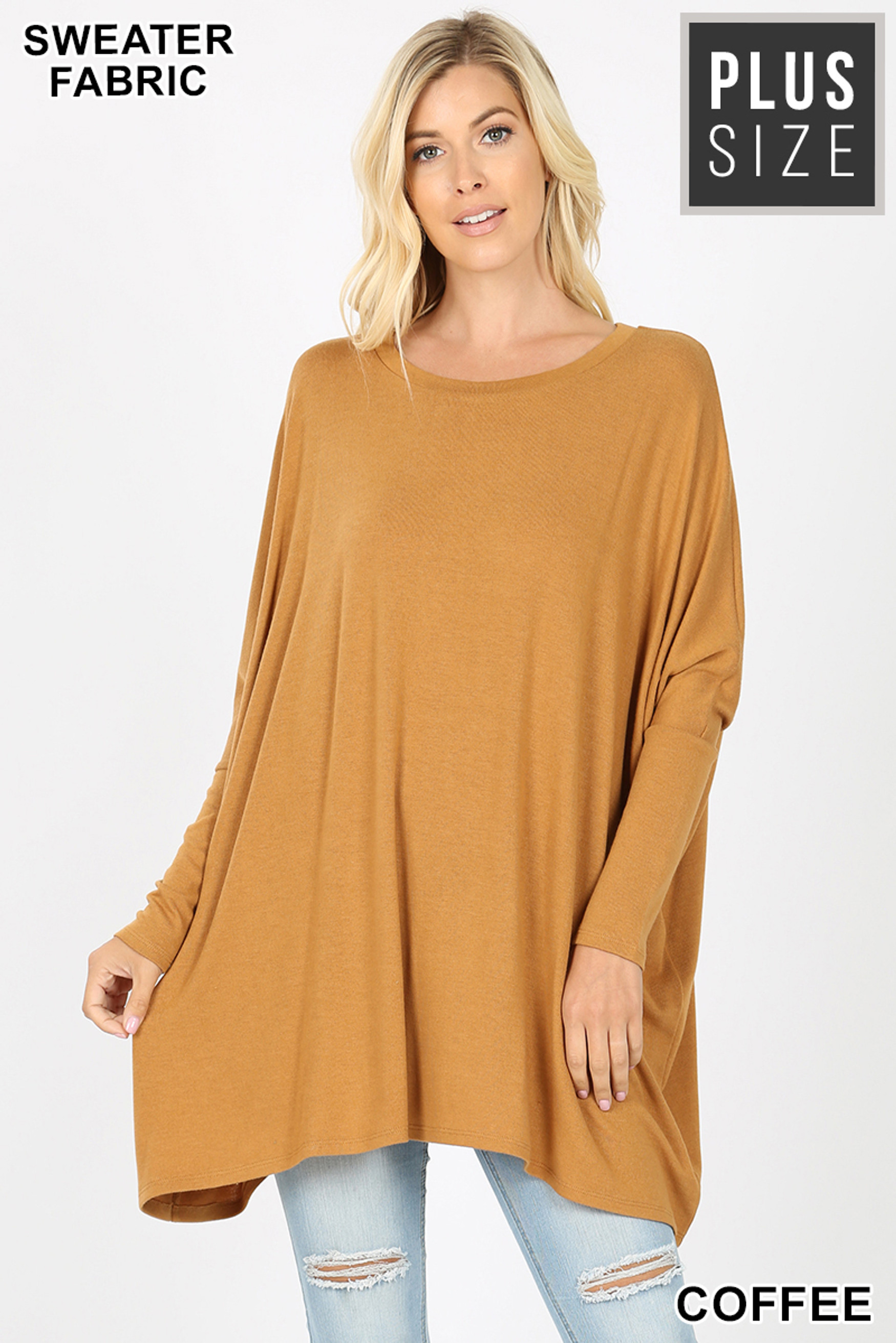 Front view of Coffee Oversized Round Neck Poncho Plus Size Sweater