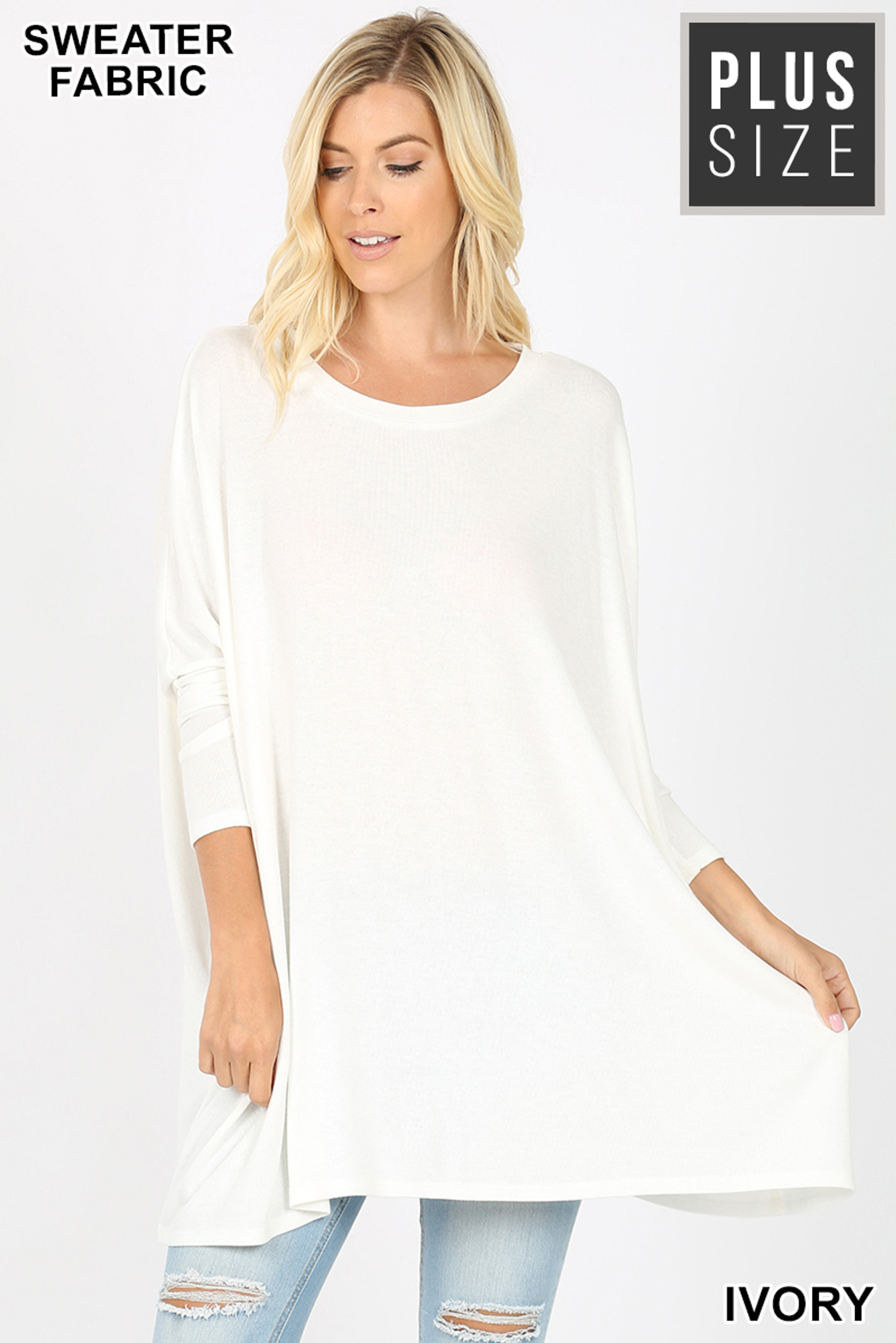 Front view of Ivory Oversized Round Neck Poncho Plus Size Sweater