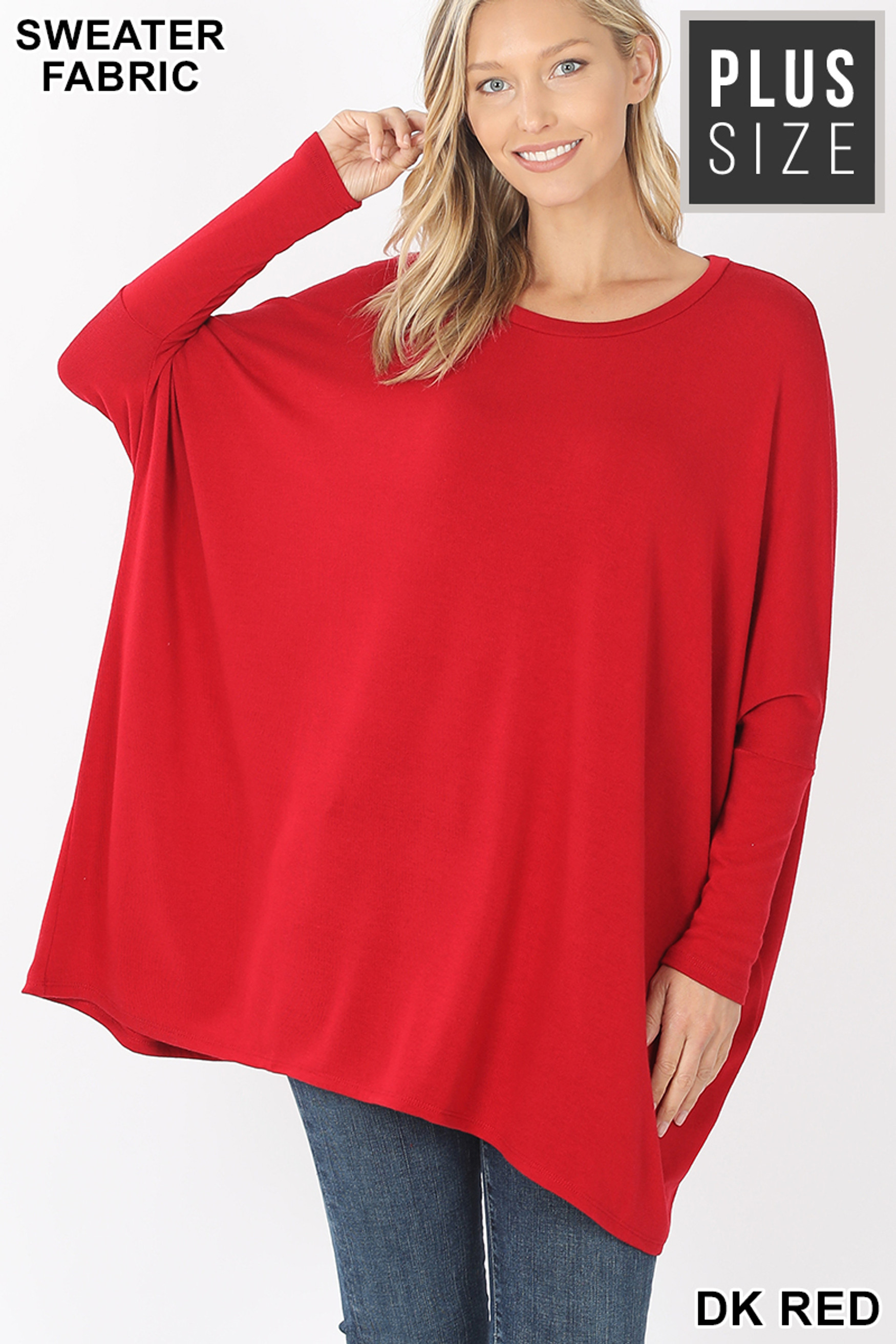 Front view of Dark Red Oversized Round Neck Poncho Plus Size Sweater