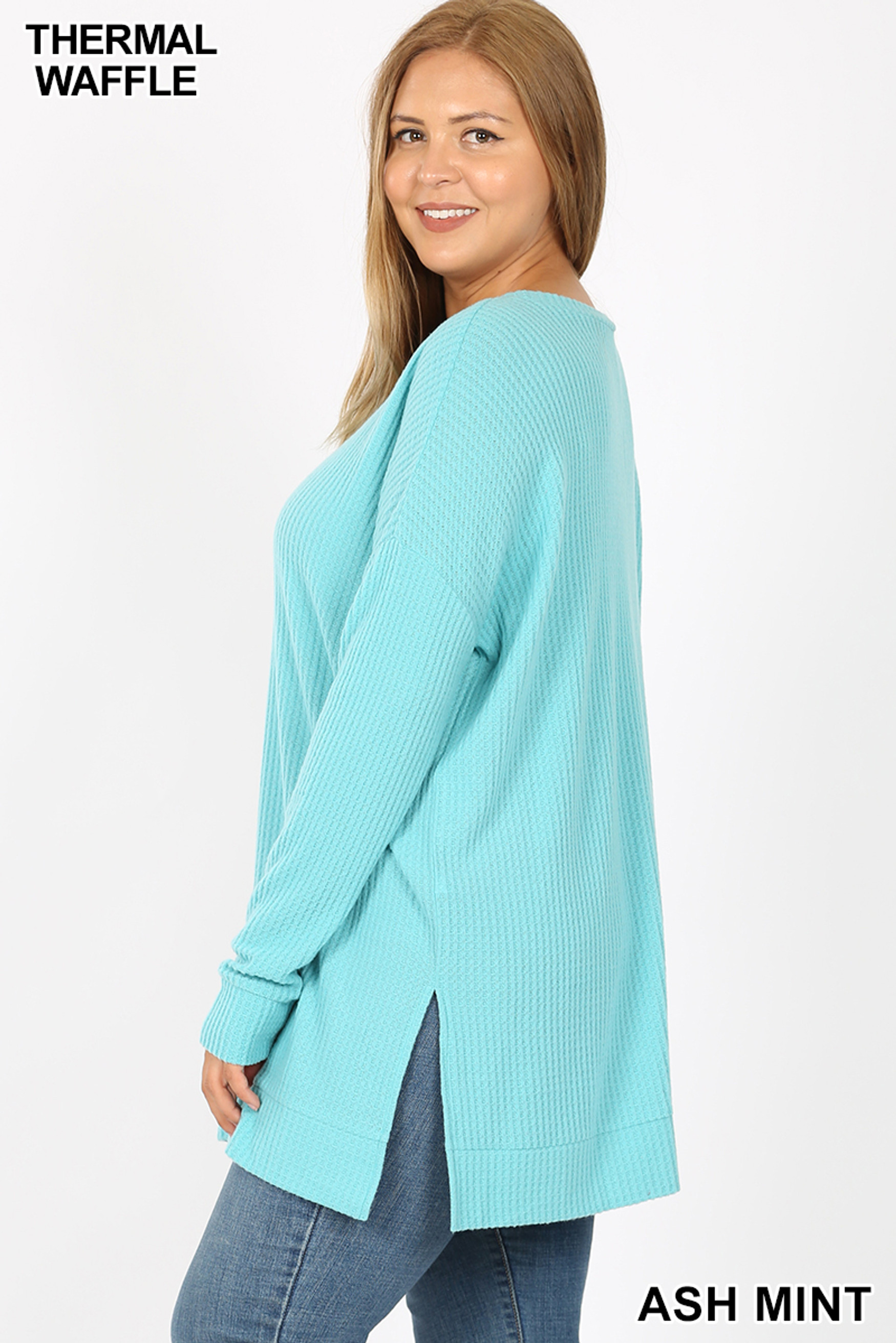 Left side of Ash Mint Brushed Thermal Waffle Knit Round Neck Plus Size Sweater