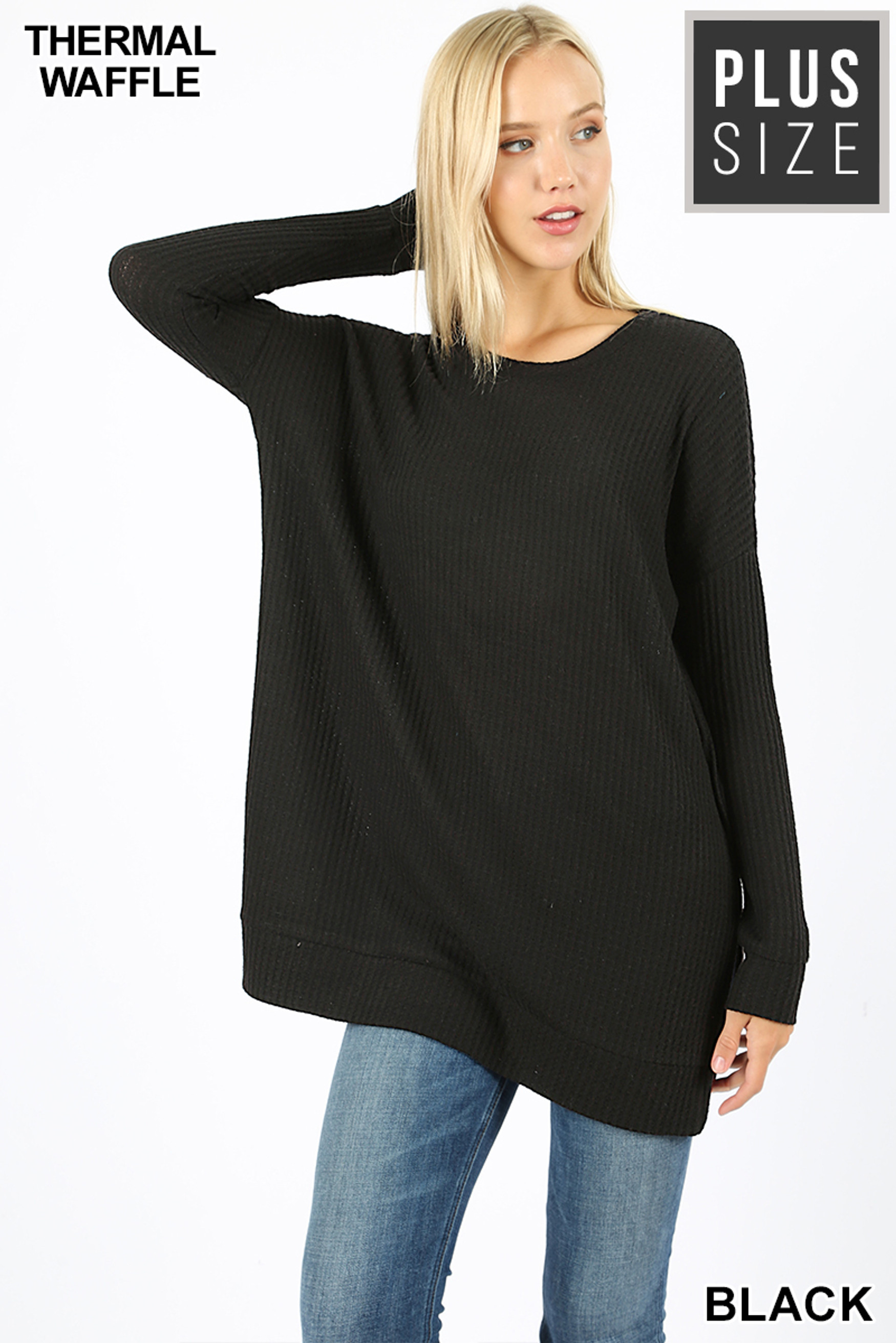 Front image of Black Brushed Thermal Waffle Knit Round Neck Plus Size Sweater