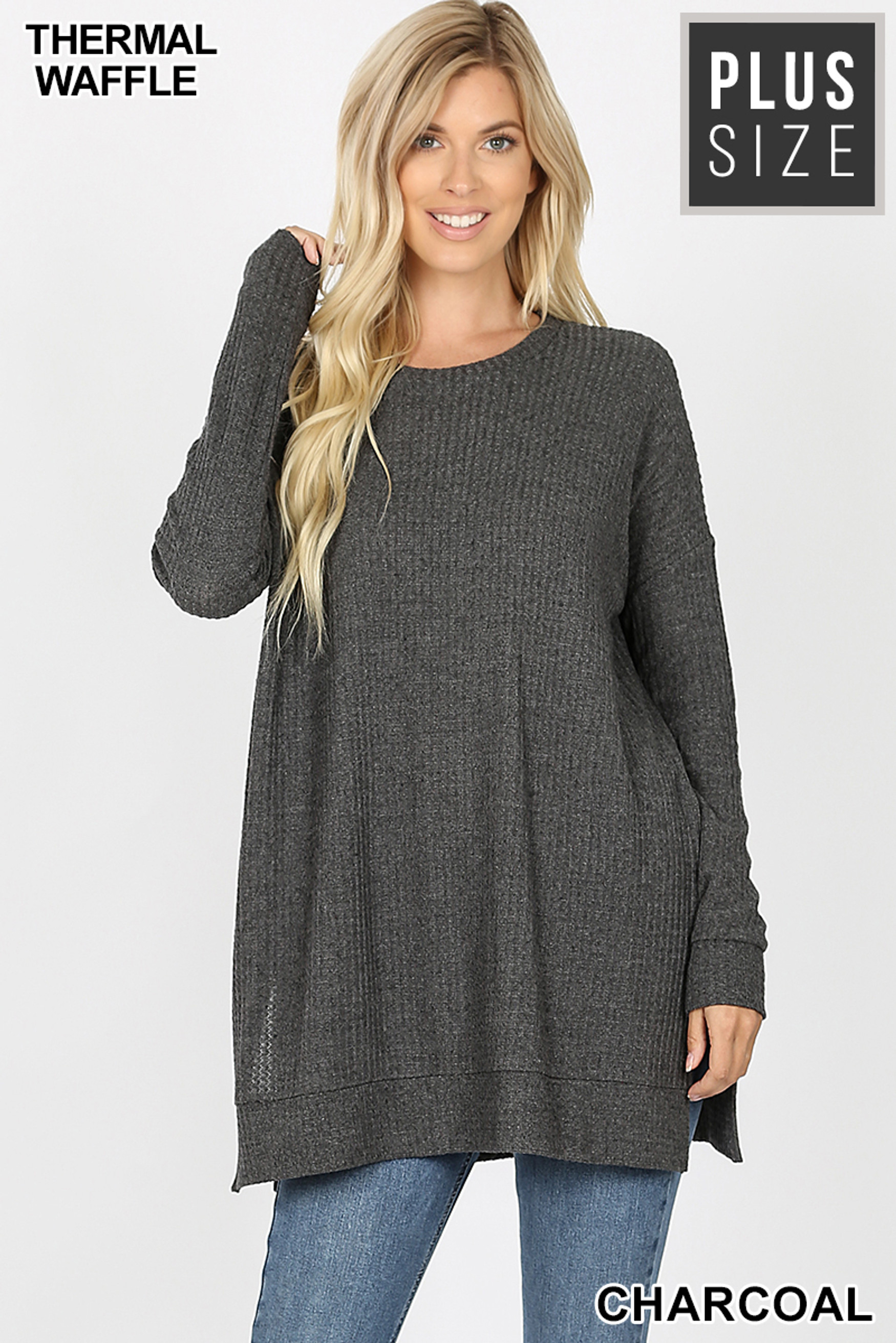 Front image of Charcoal Brushed Thermal Waffle Knit Round Neck Plus Size Sweater