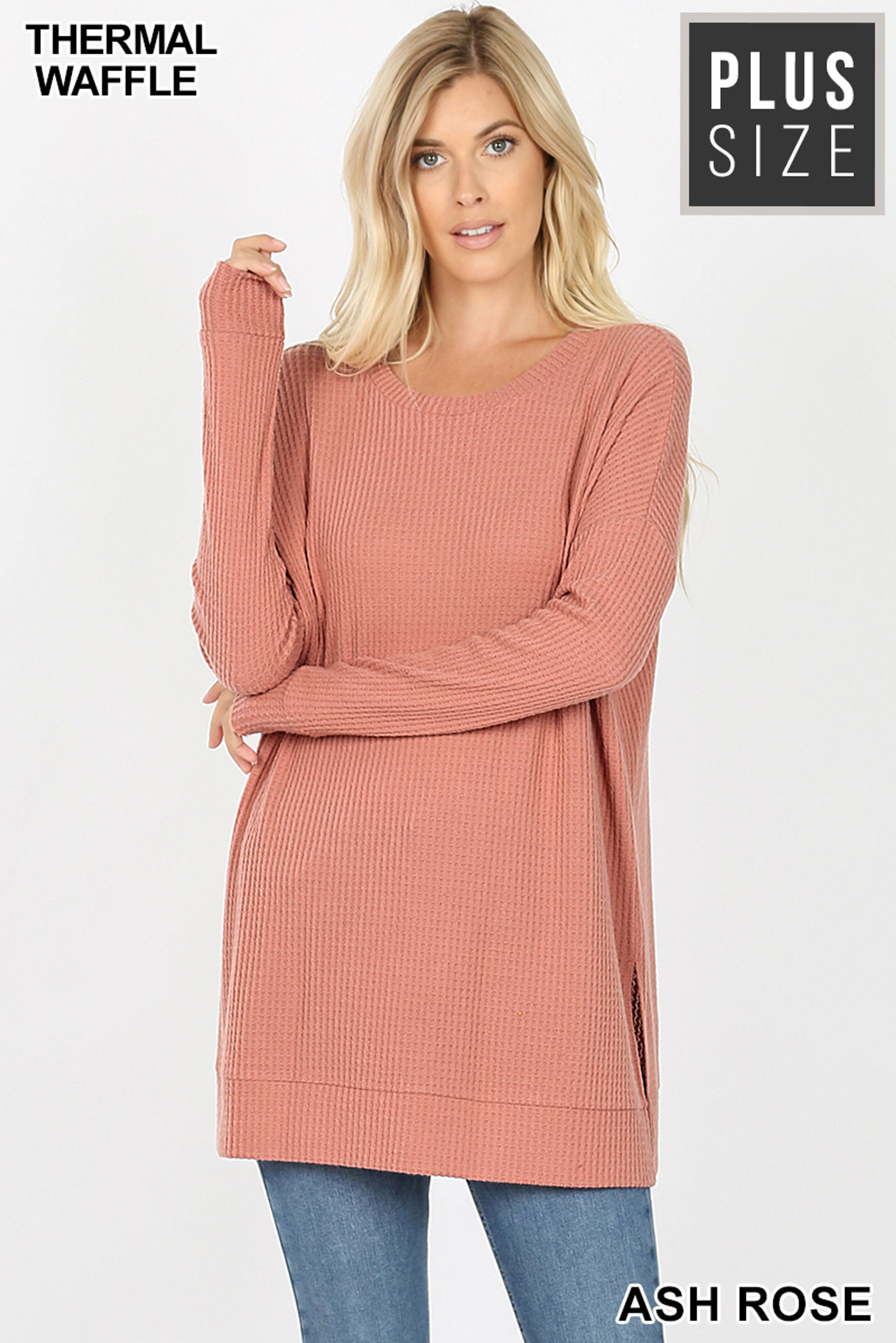 Front image of Ash Rose Brushed Thermal Waffle Knit Round Neck Plus Size Sweater