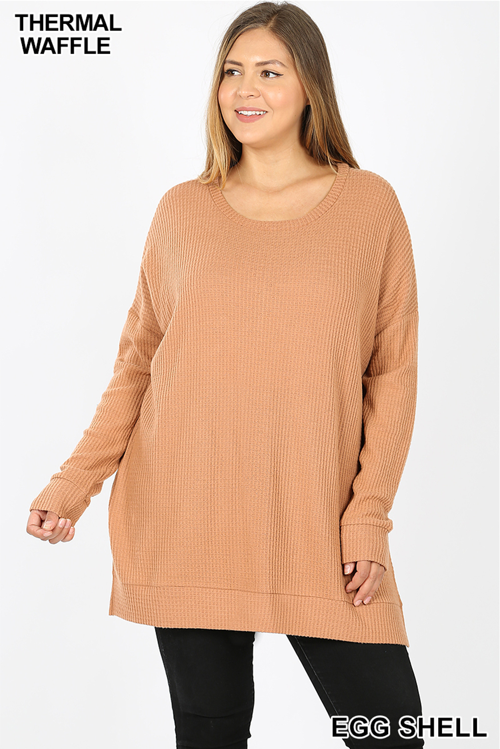 Front image of Eggshell Brushed Thermal Waffle Knit Round Neck Plus Size Sweater