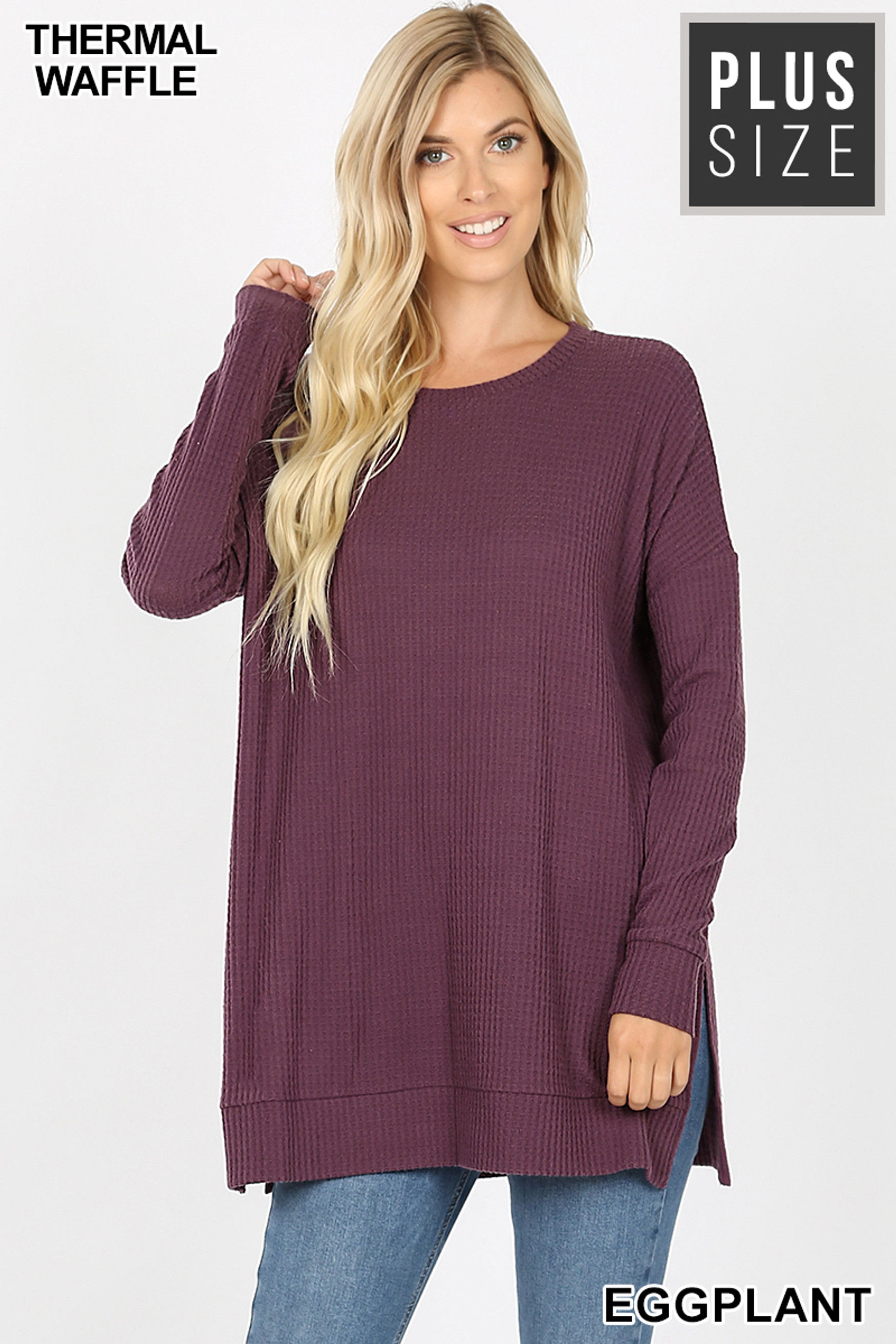 Front image of Eggplant Brushed Thermal Waffle Knit Round Neck Plus Size Sweater