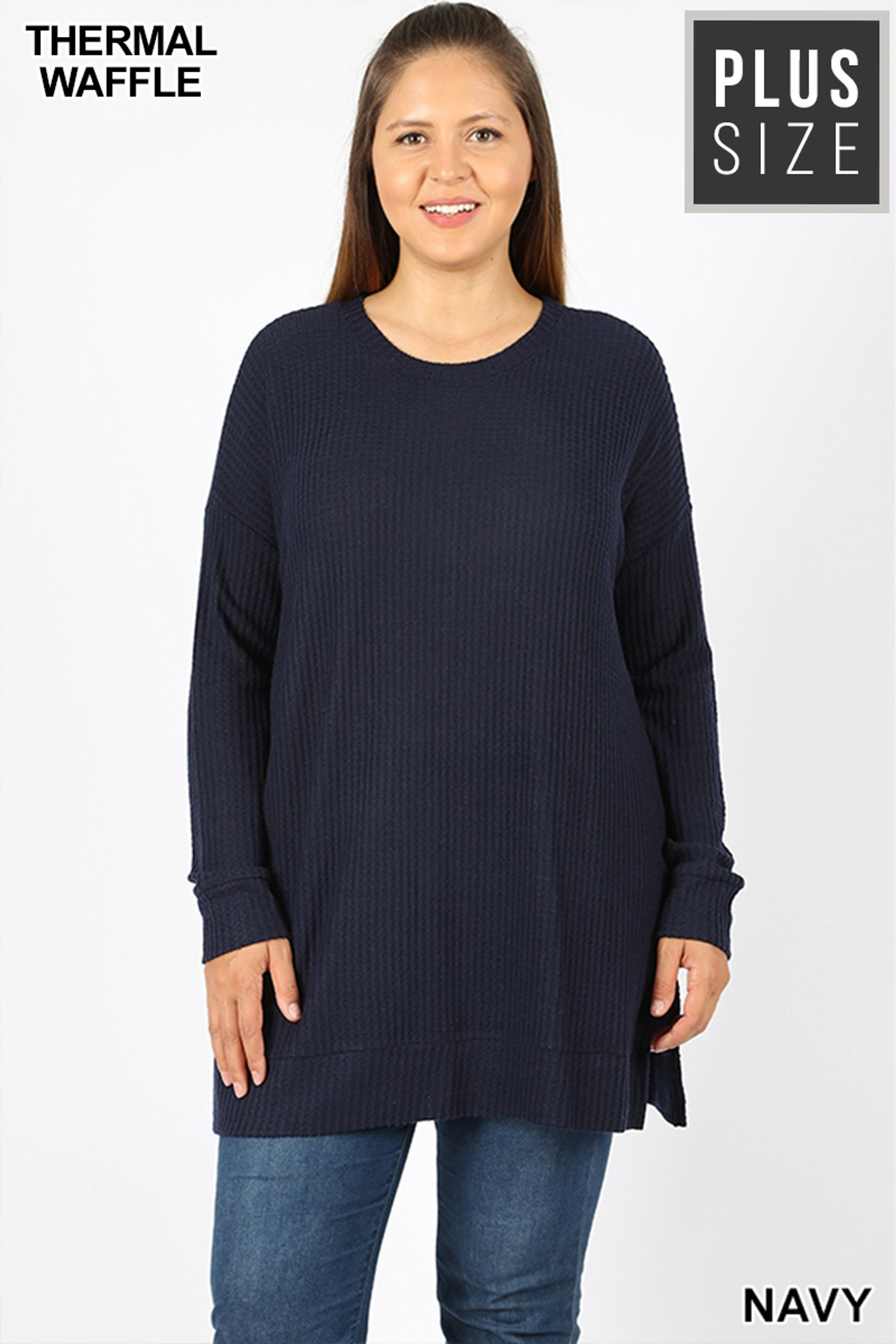 Front image of Navy Brushed Thermal Waffle Knit Round Neck Plus Size Sweater