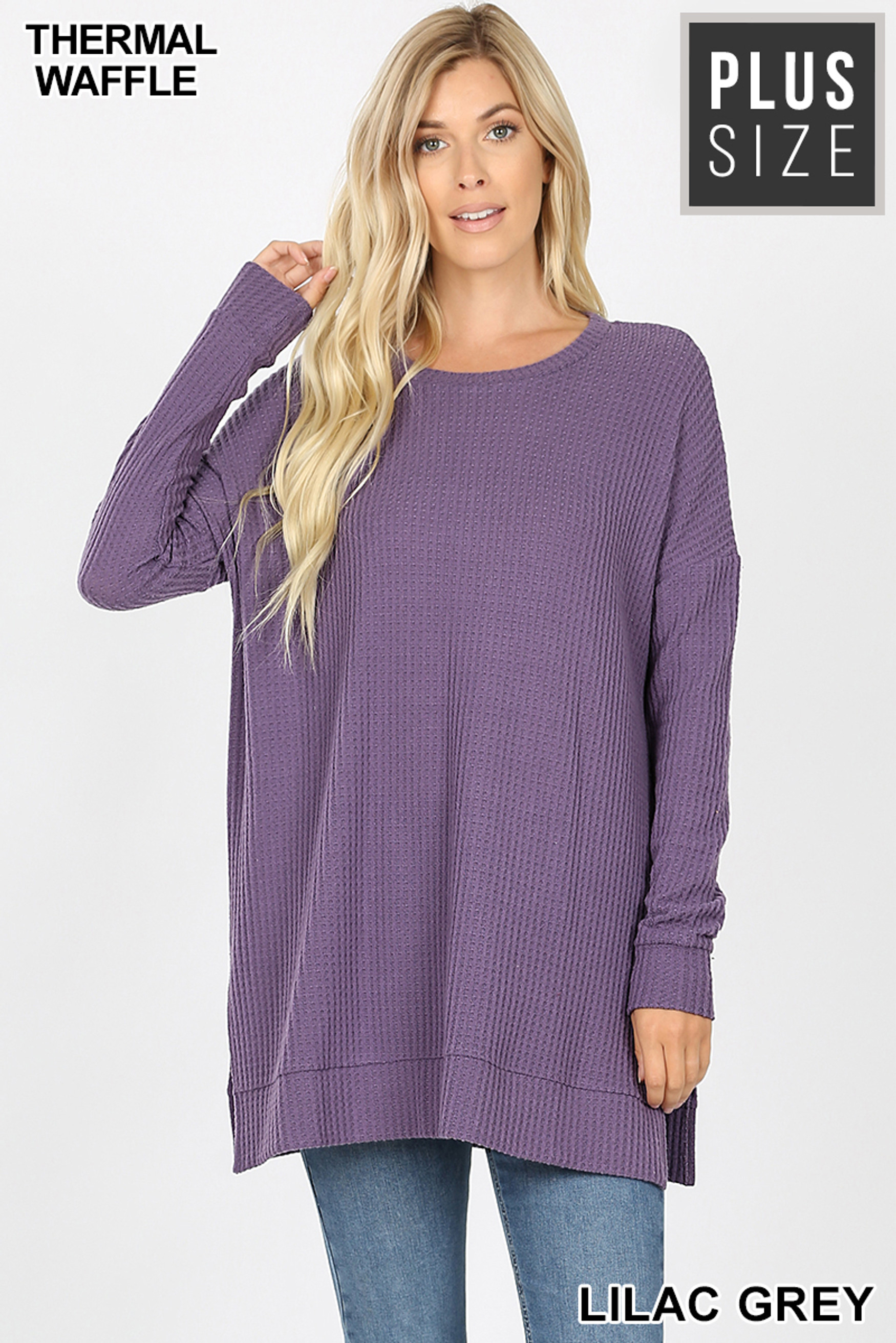 Front image of Lilac Grey Brushed Thermal Waffle Knit Round Neck Plus Size Sweater