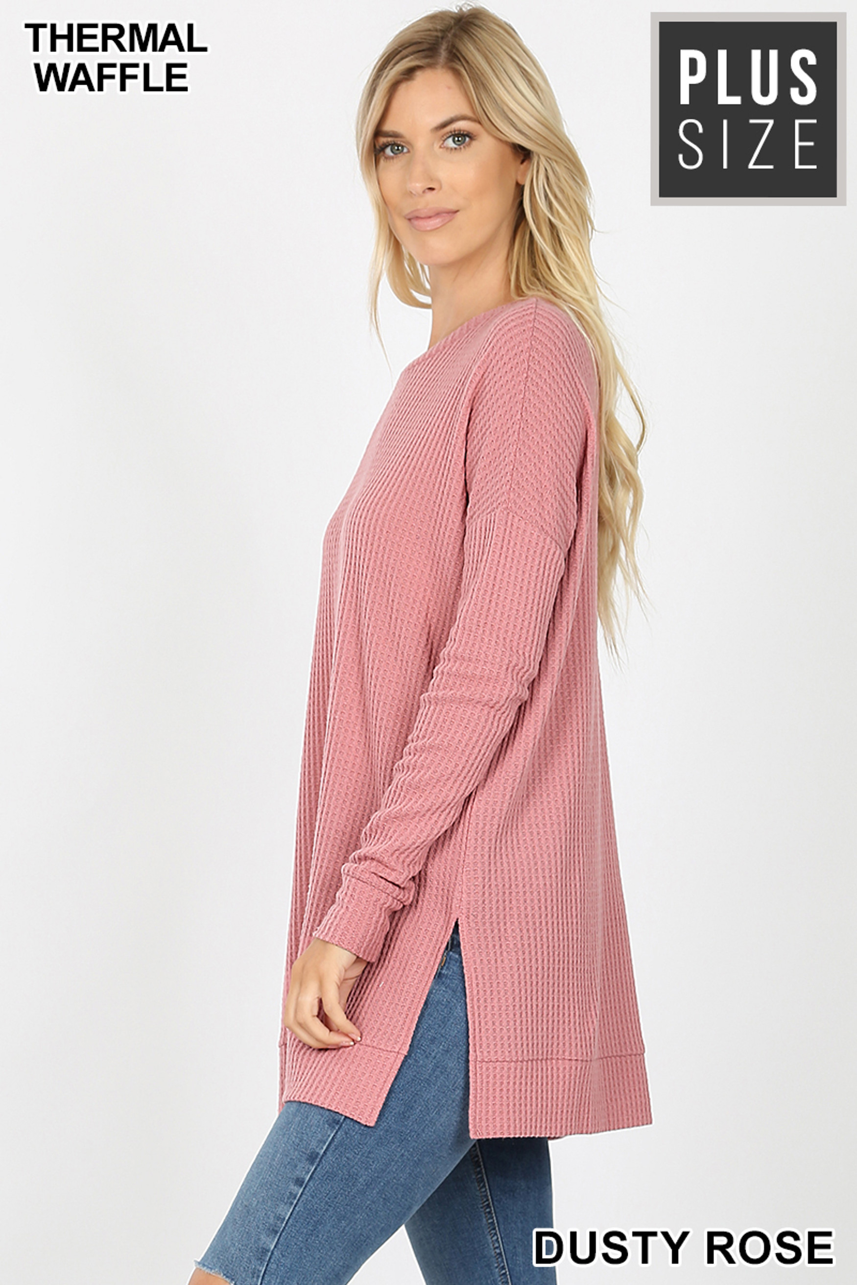 Left side image of Dusty Rose Brushed Thermal Waffle Knit Round Neck Plus Size Sweater