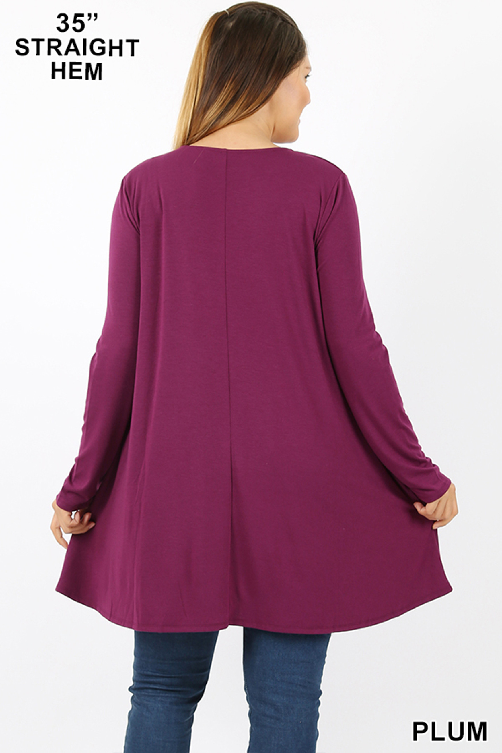 Back view of Plum Long Sleeve Plus Size Swing Tunic with Pockets