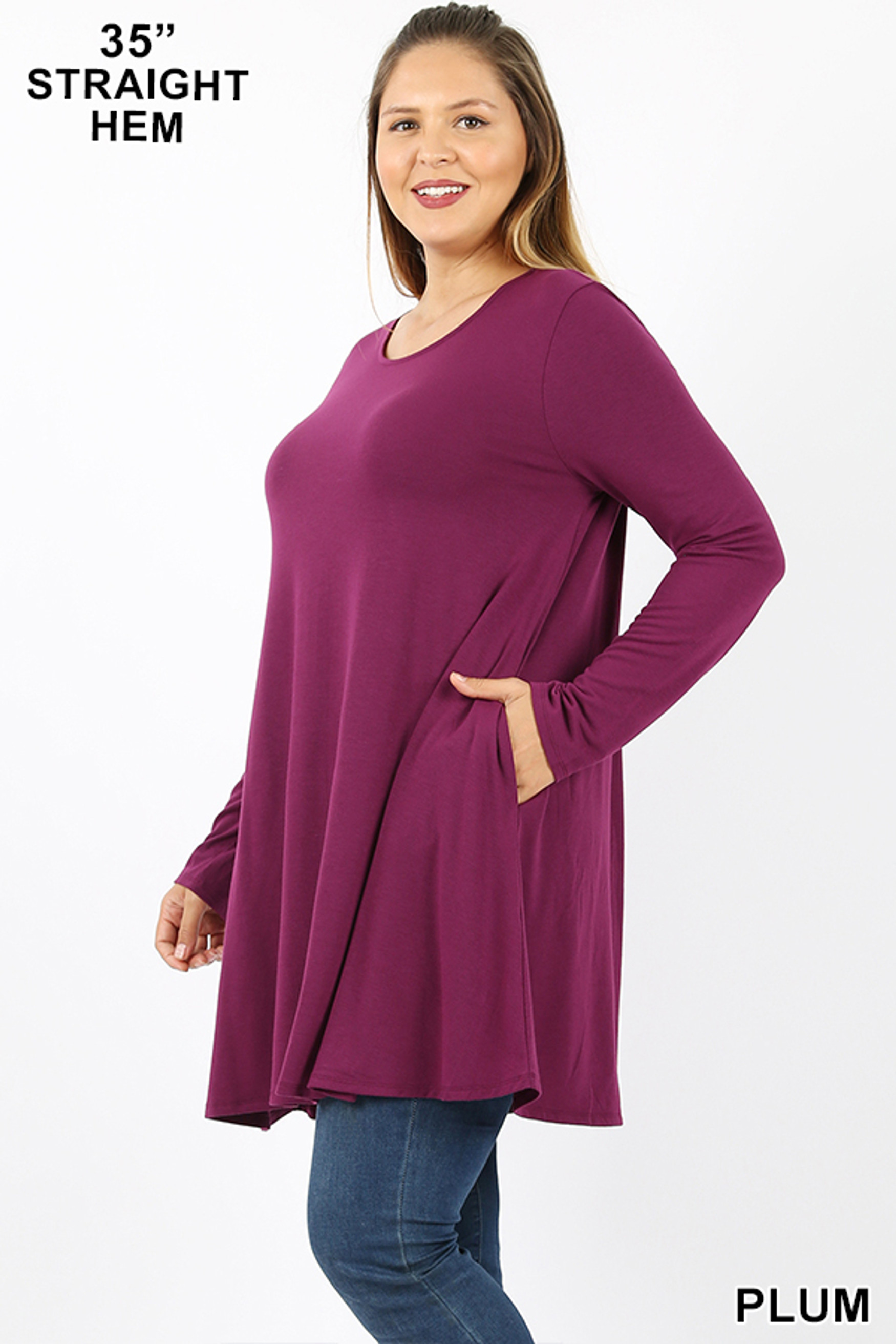 Left side view of Plum Long Sleeve Plus Size Swing Tunic with Pockets
