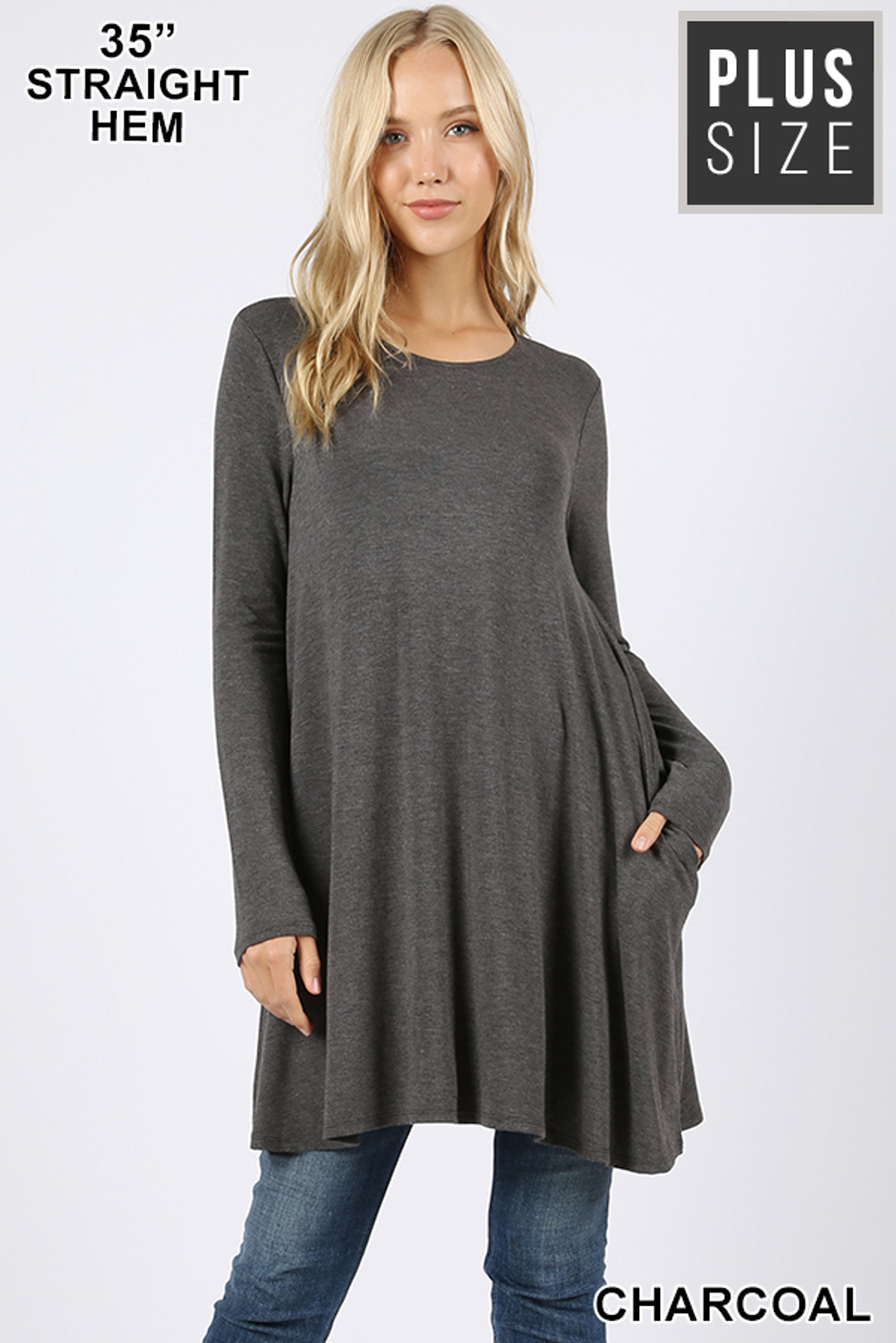Front of Charcoal Long Sleeve Plus Size Swing Tunic with Pockets