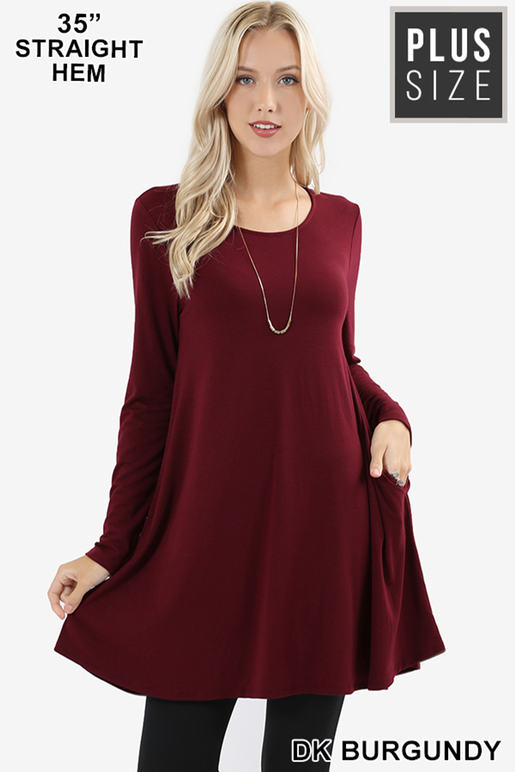 Front of Dk Burgundy Long Sleeve Plus Size Swing Tunic with Pockets