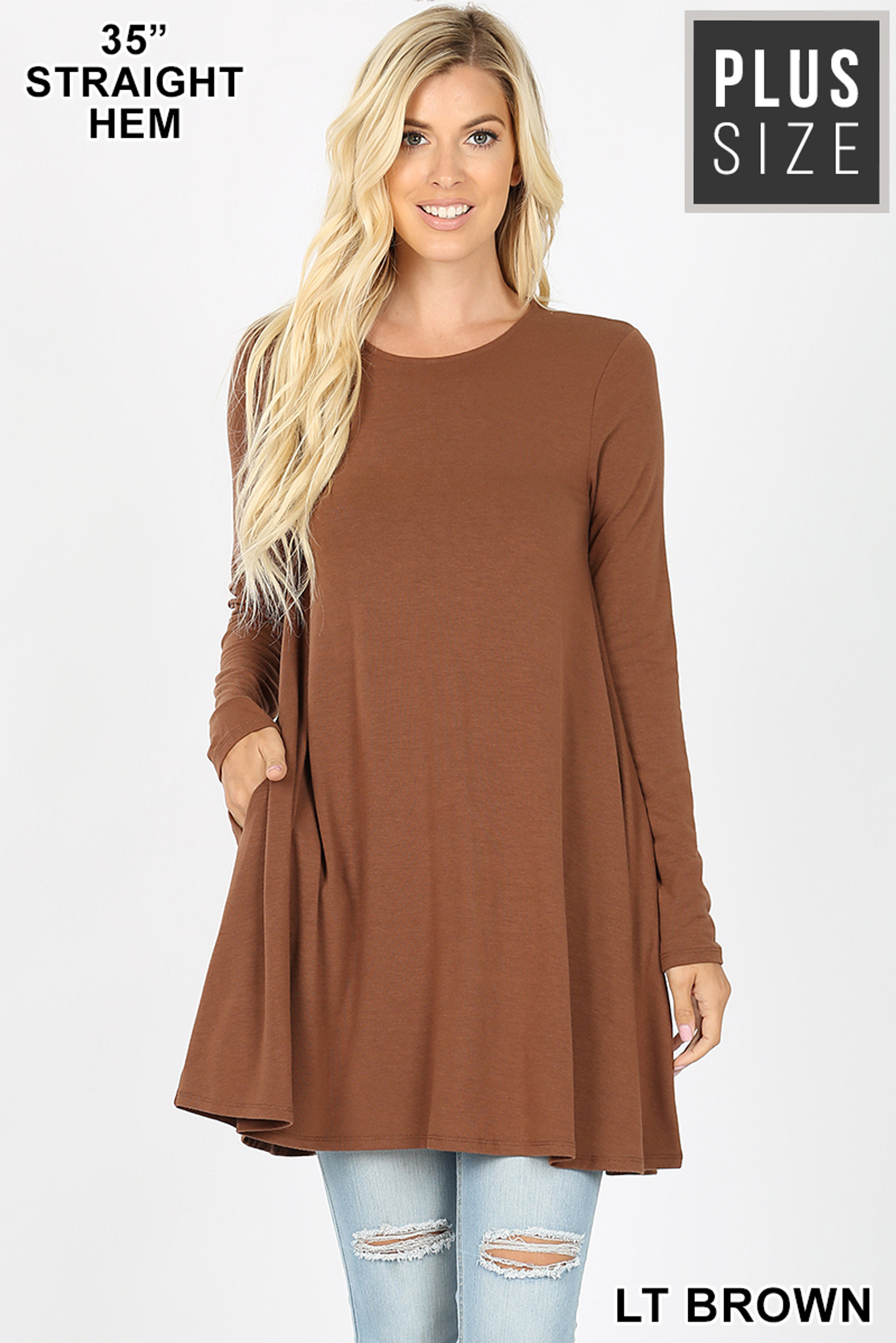 Front of Lt Red Long Sleeve Plus Size Swing Tunic with Pockets